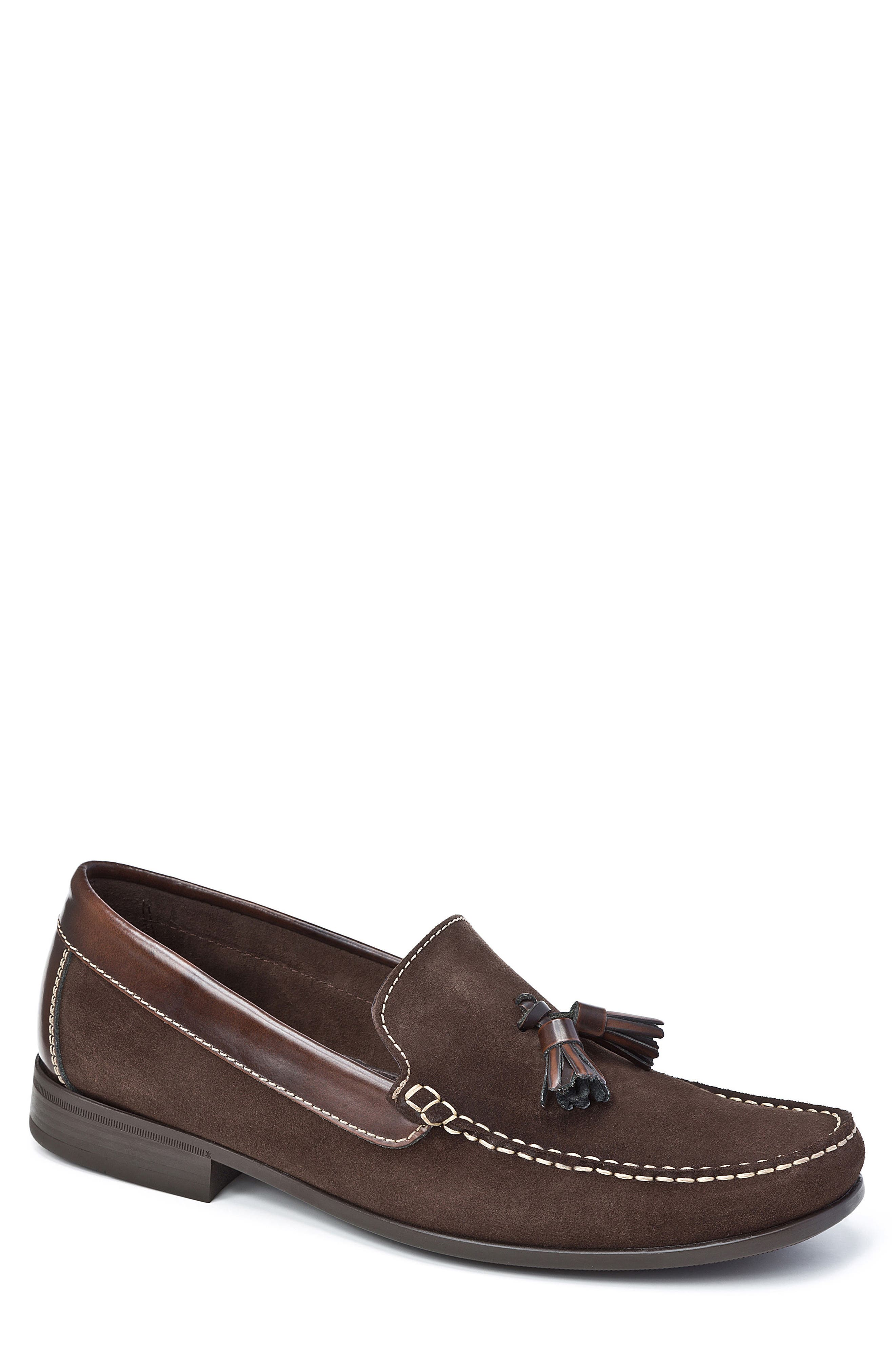 SANDRO MOSCOLONI,                             Hojas Tassel Loafer,                             Main thumbnail 1, color,                             BROWN LEATHER