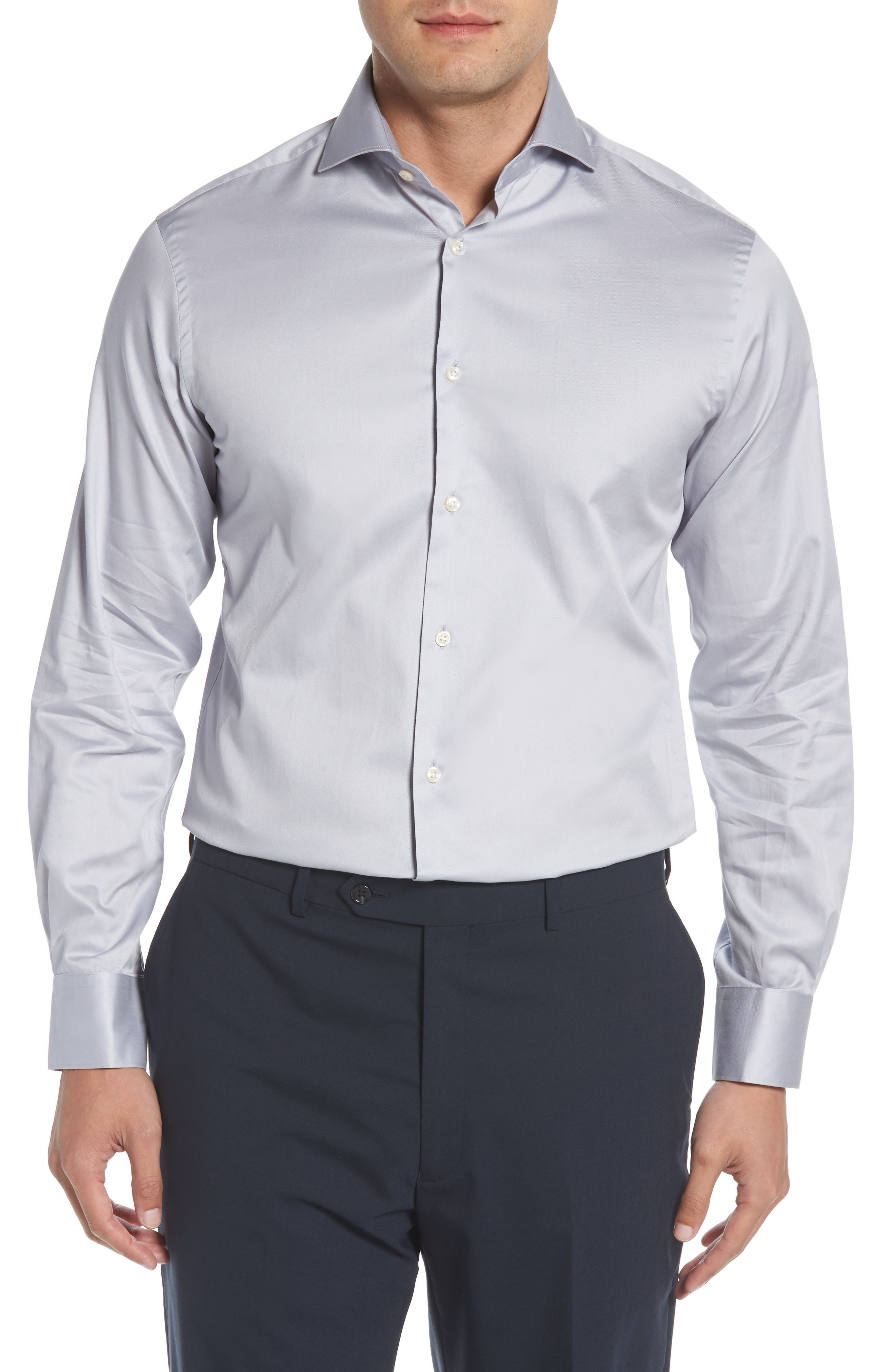 Regular Fit Solid Dress Shirt,                         Main,                         color, SILVER
