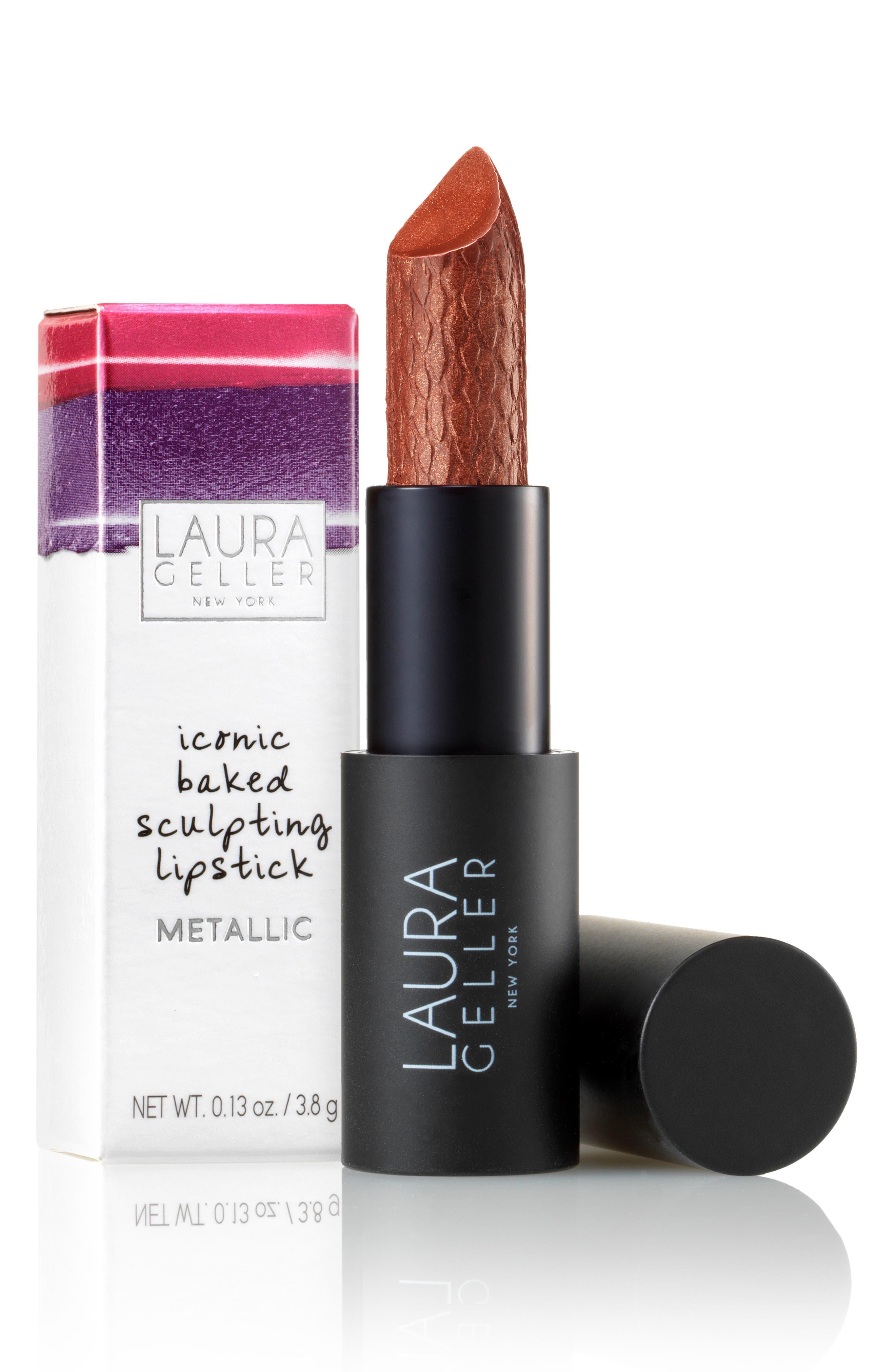 Iconic Baked Metallic Sculpting Lipstick,                             Alternate thumbnail 2, color,                             BATTERY PARK BRONZE