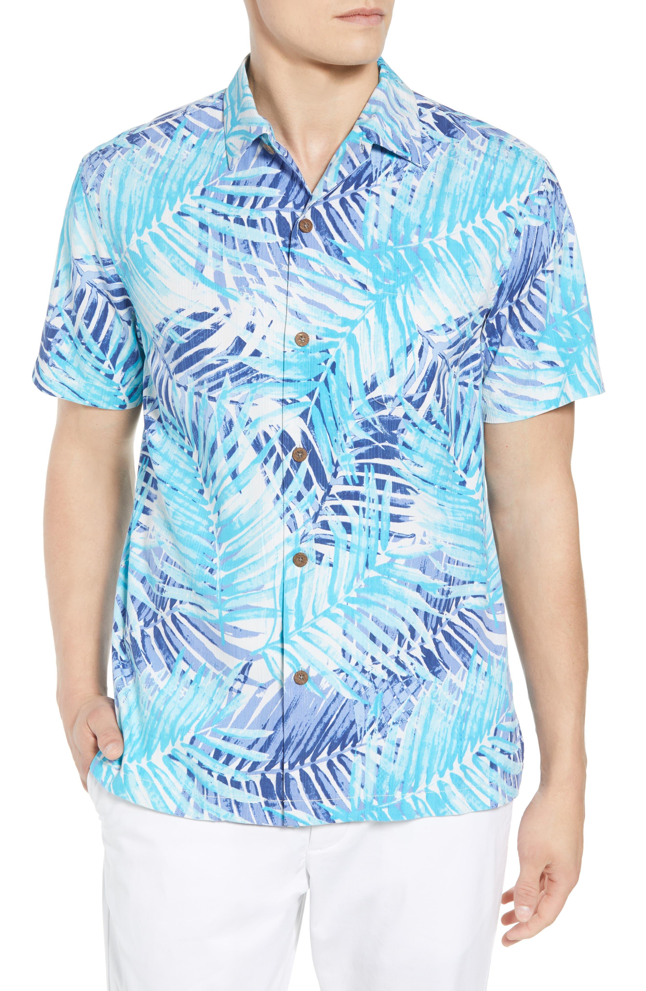 San Juan Fronds Silk Blend Camp Shirt,                         Main,                         color, 401