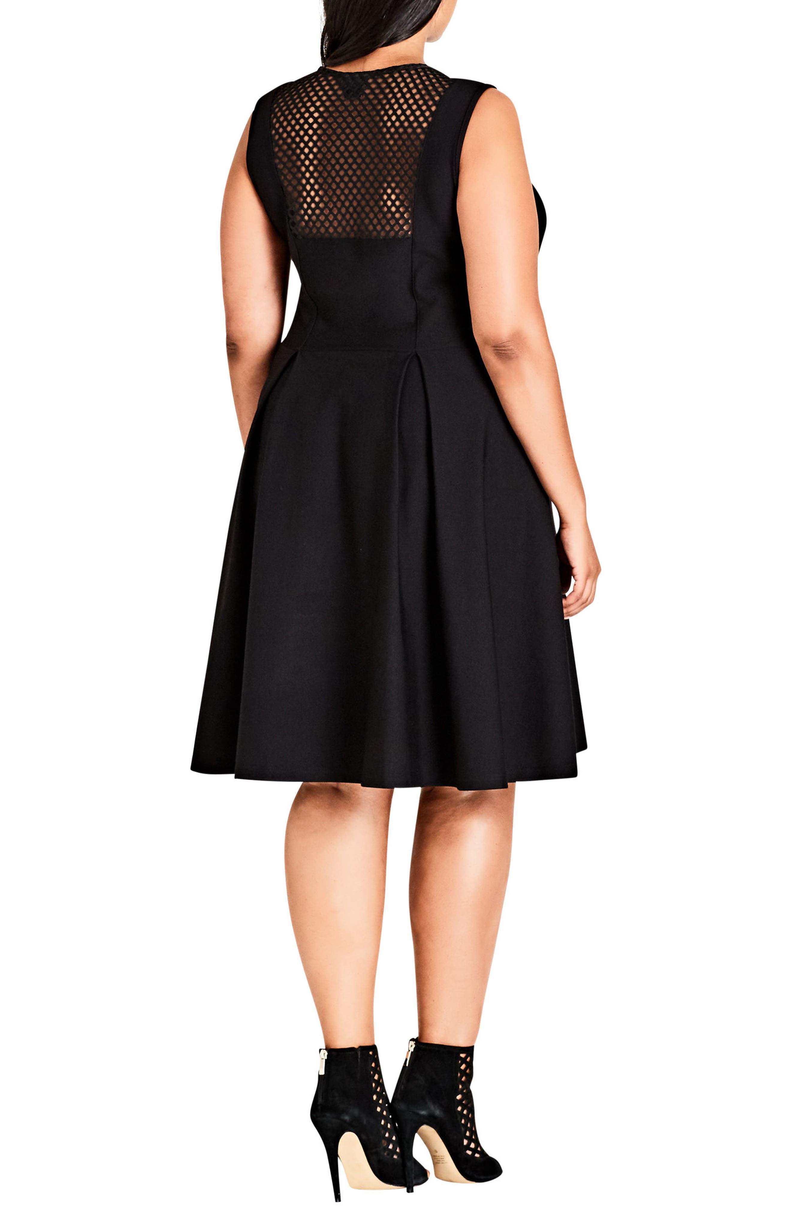 Rose Adore Fit & Flare Dress,                             Alternate thumbnail 2, color,                             BLACK