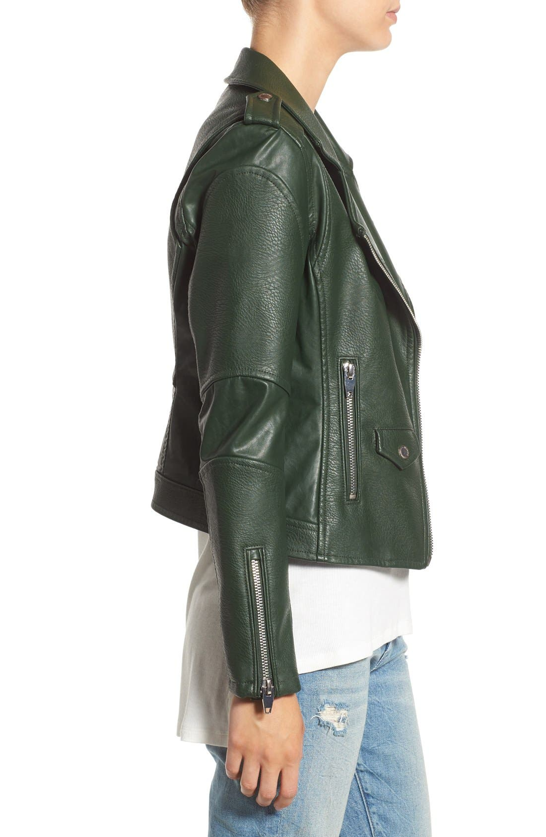 'Easy Rider' Faux Leather Moto Jacket,                             Alternate thumbnail 17, color,