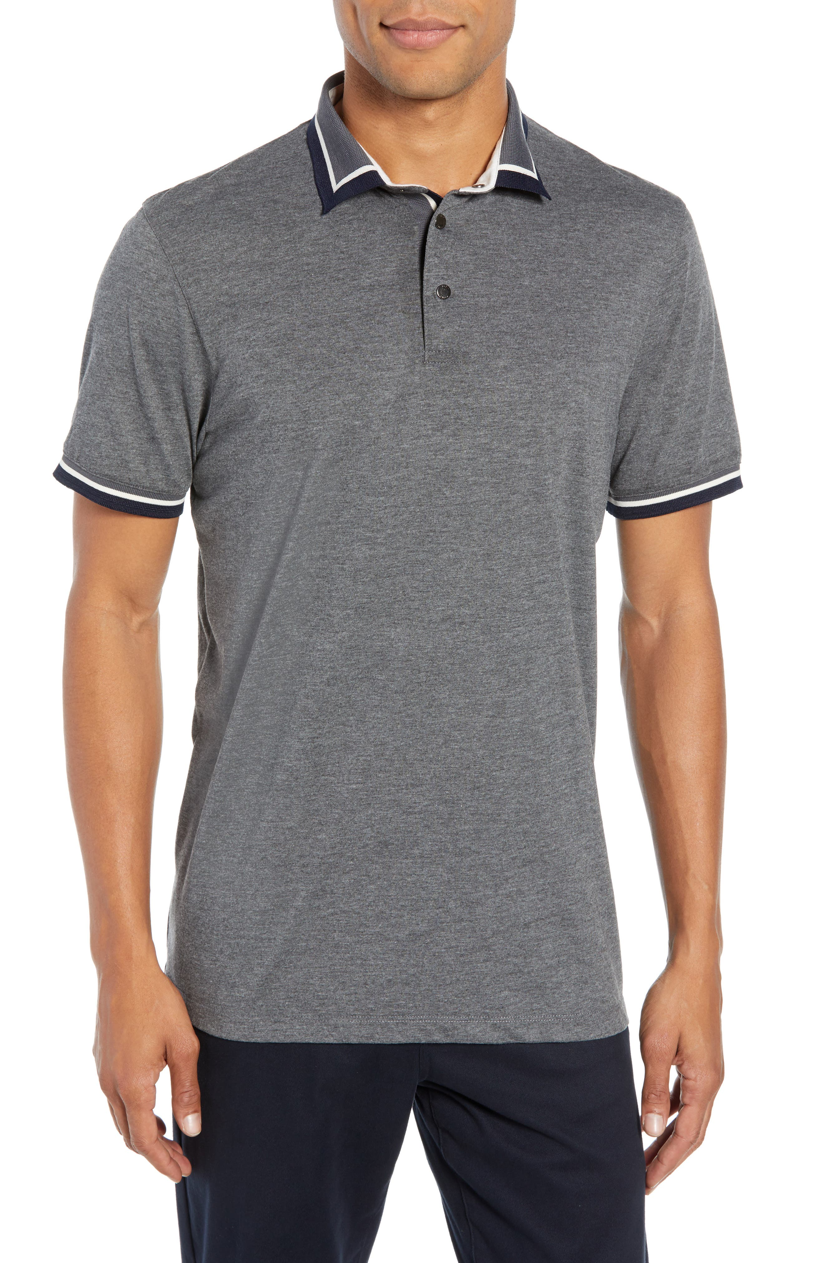 Slim Fit Gummy Polo,                         Main,                         color, CHARCOAL