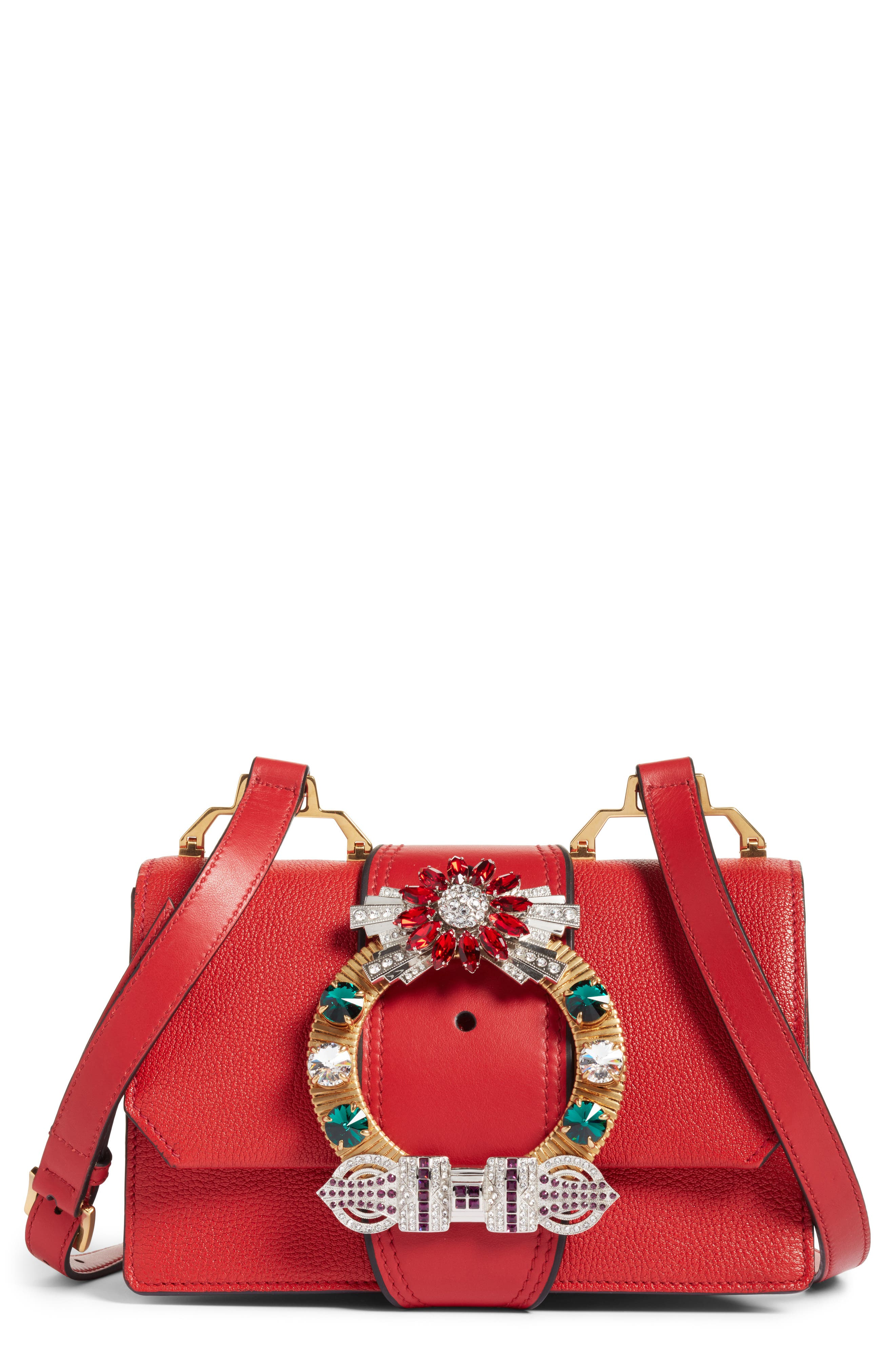 Madras Crystal Embellished Leather Shoulder Bag,                             Main thumbnail 1, color,                             FUOCO