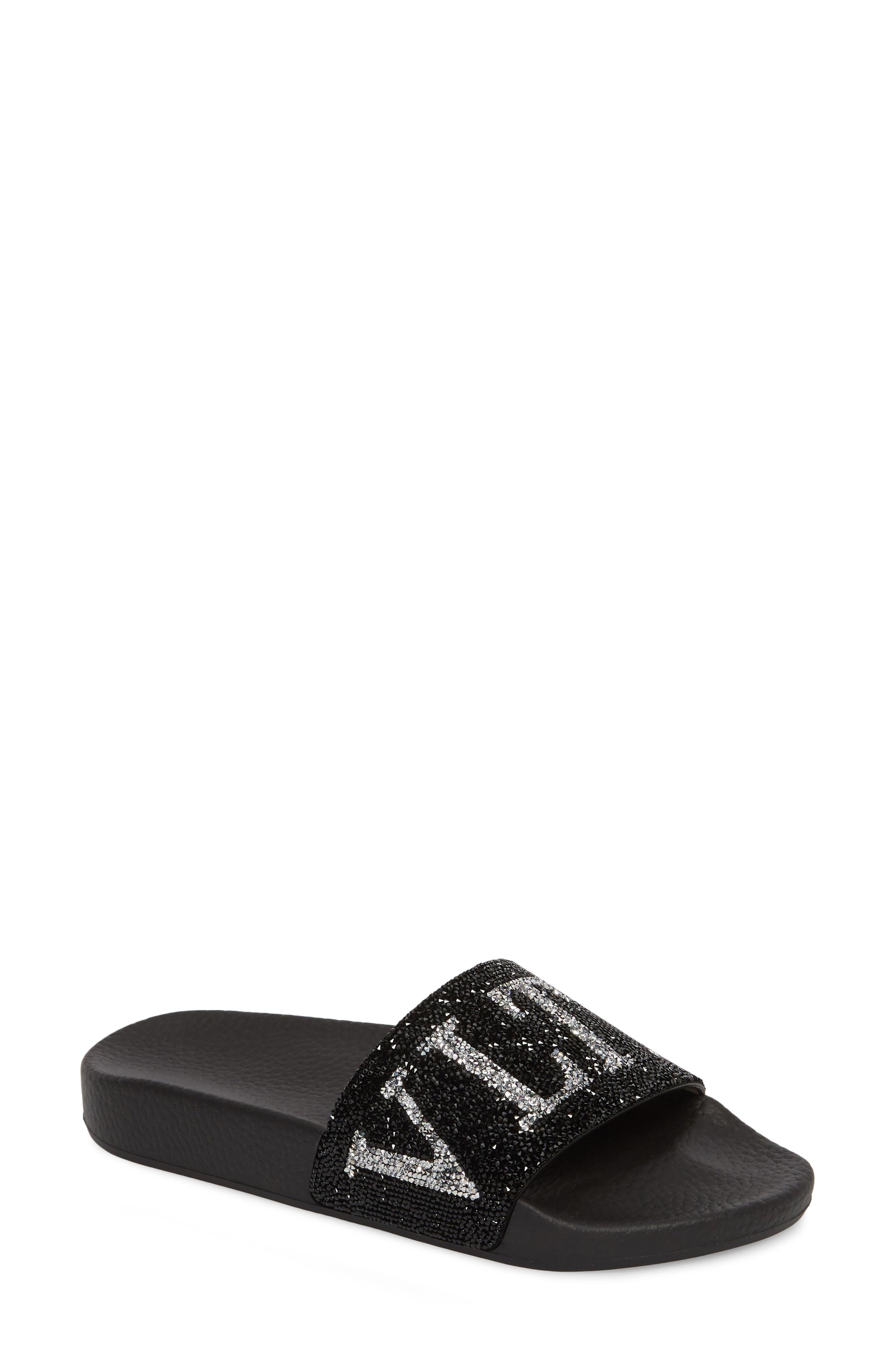 Crystal Logo Slide Sandal,                             Main thumbnail 1, color,                             BLACK