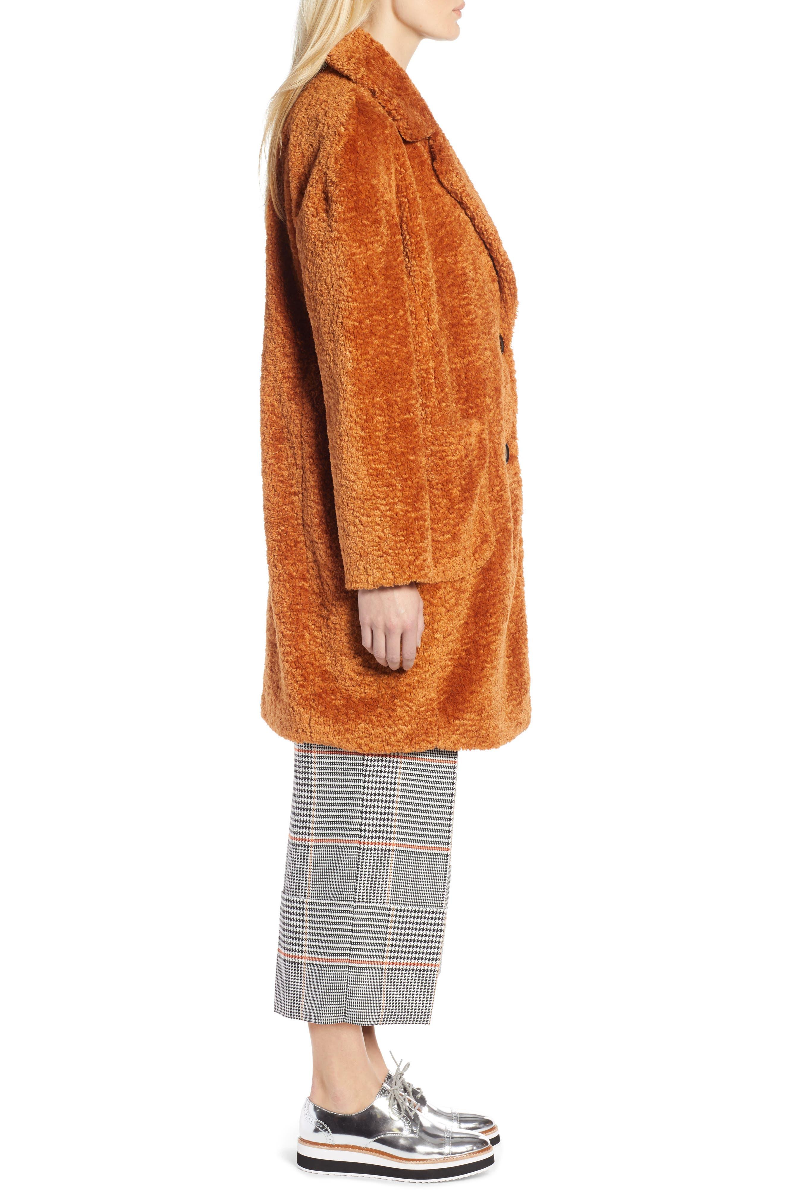 x Atlantic-Pacific Faux Fur Coat,                             Alternate thumbnail 3, color,                             RUST GINGER