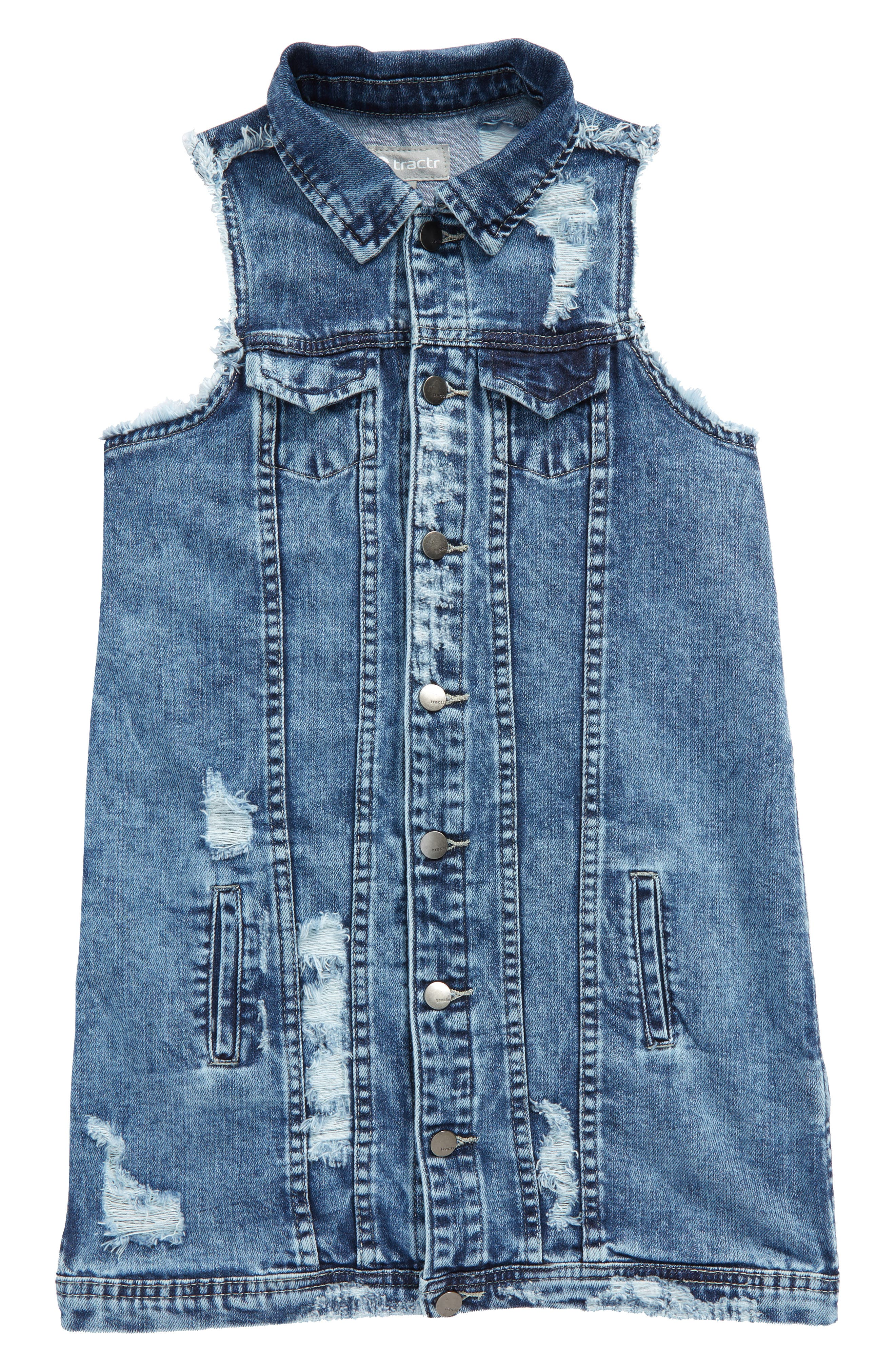 Oversize Deconstructed Denim Vest,                             Main thumbnail 1, color,                             407