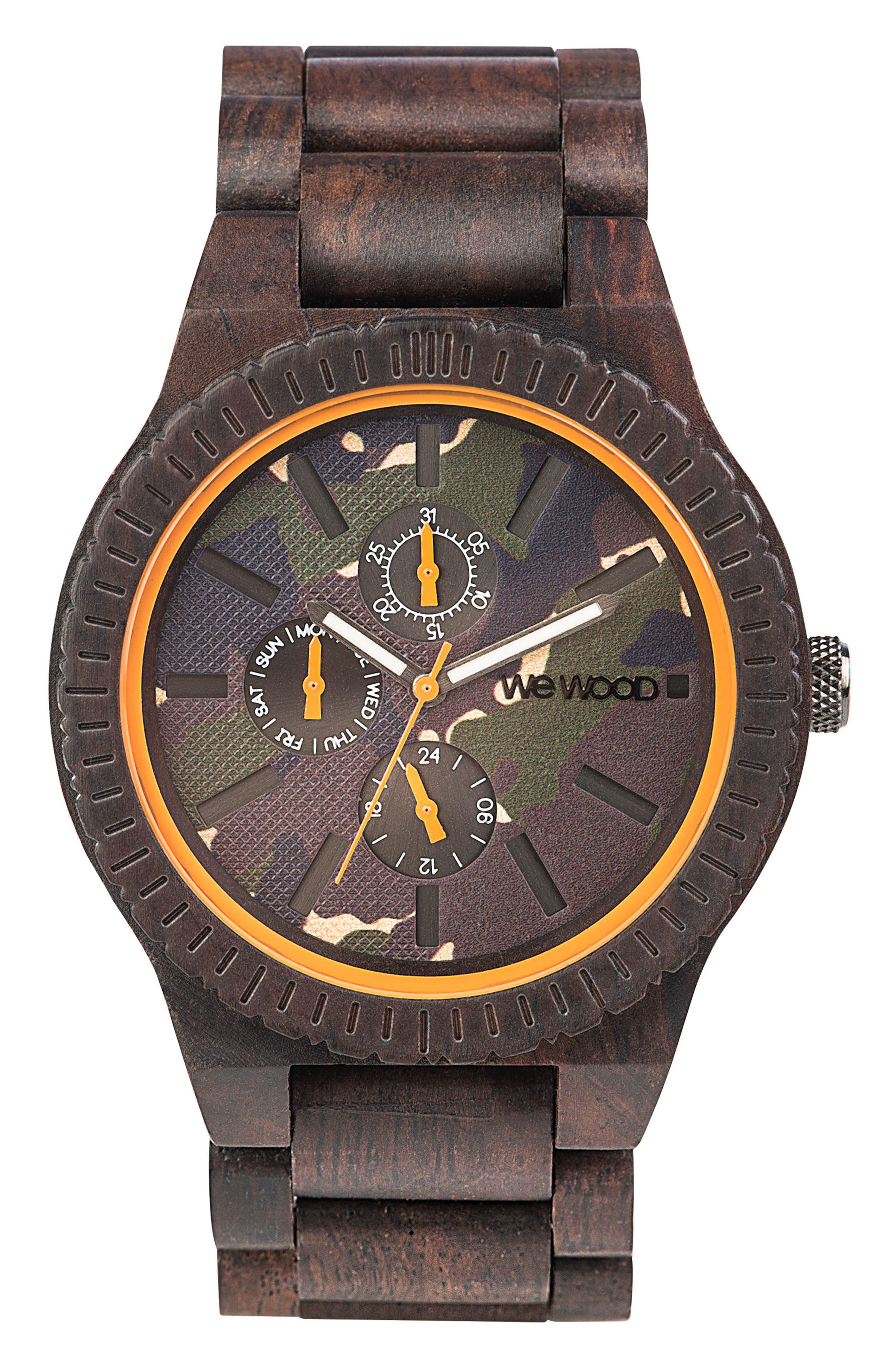Kos Multifunctional Wood Bracelet Watch, 46mm,                             Main thumbnail 1, color,                             200