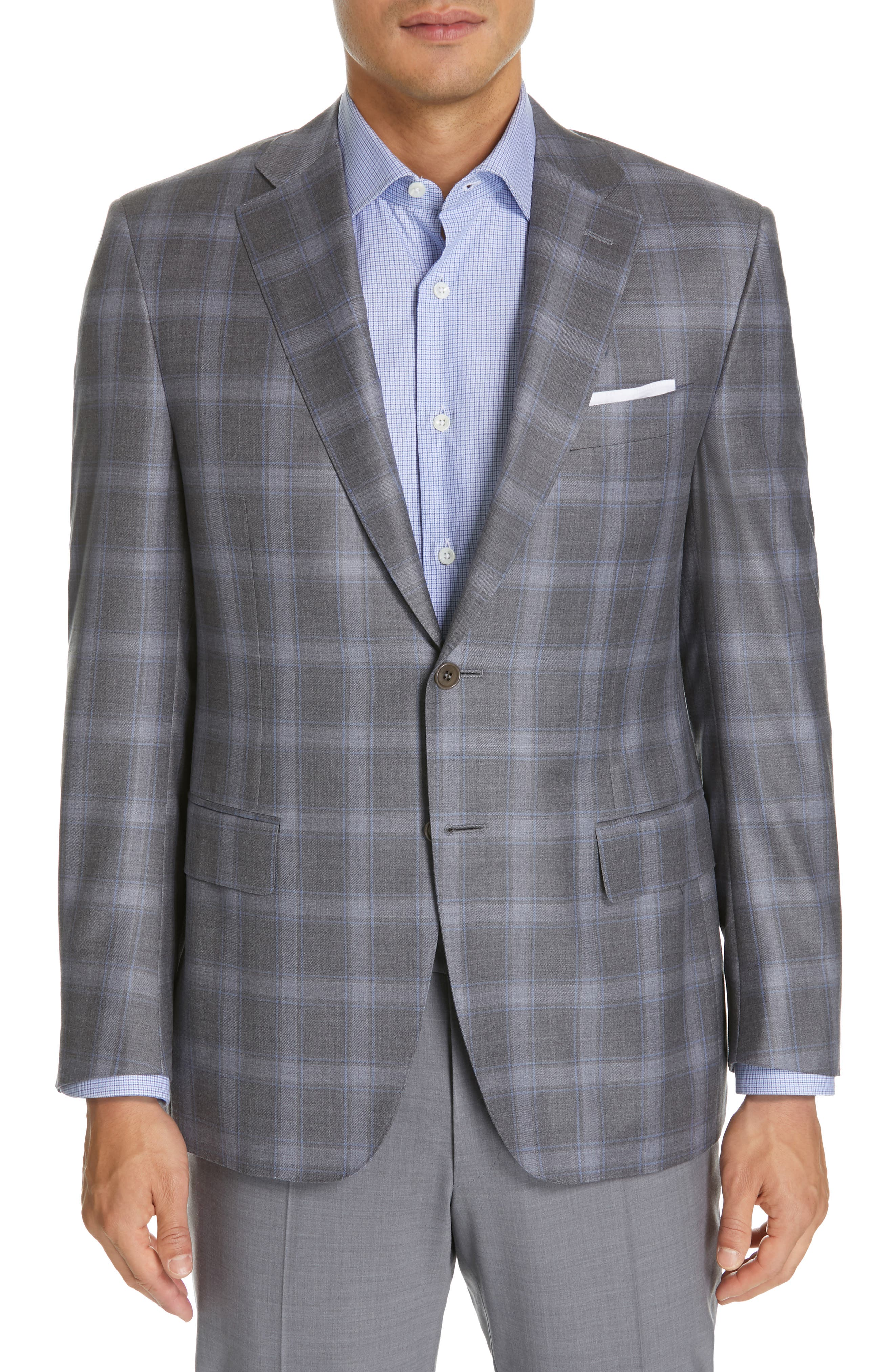 Sienna Classic Fit Plaid Wool Sport Coat,                             Main thumbnail 1, color,                             GREY
