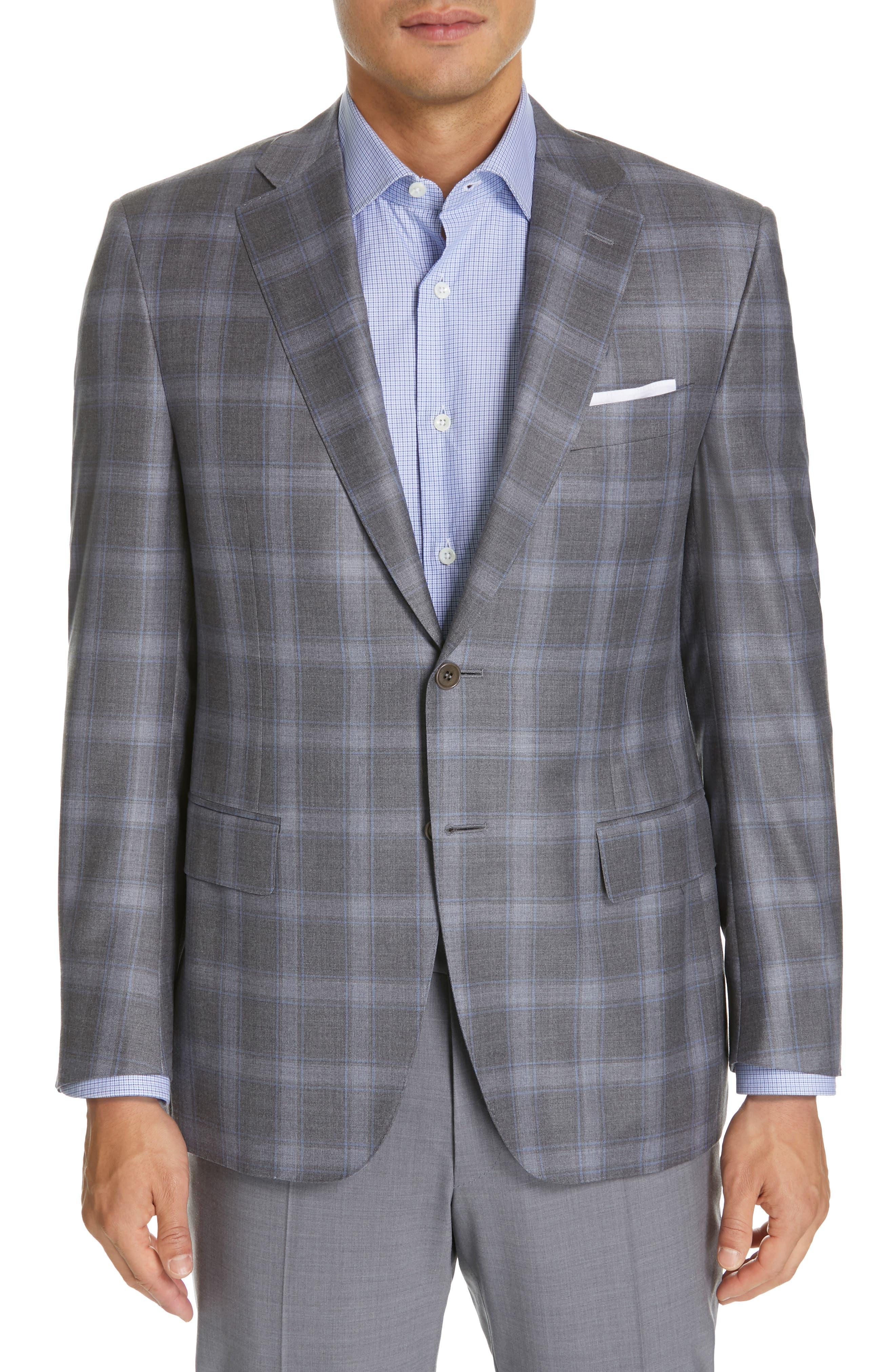 Sienna Classic Fit Plaid Wool Sport Coat, Main, color, GREY