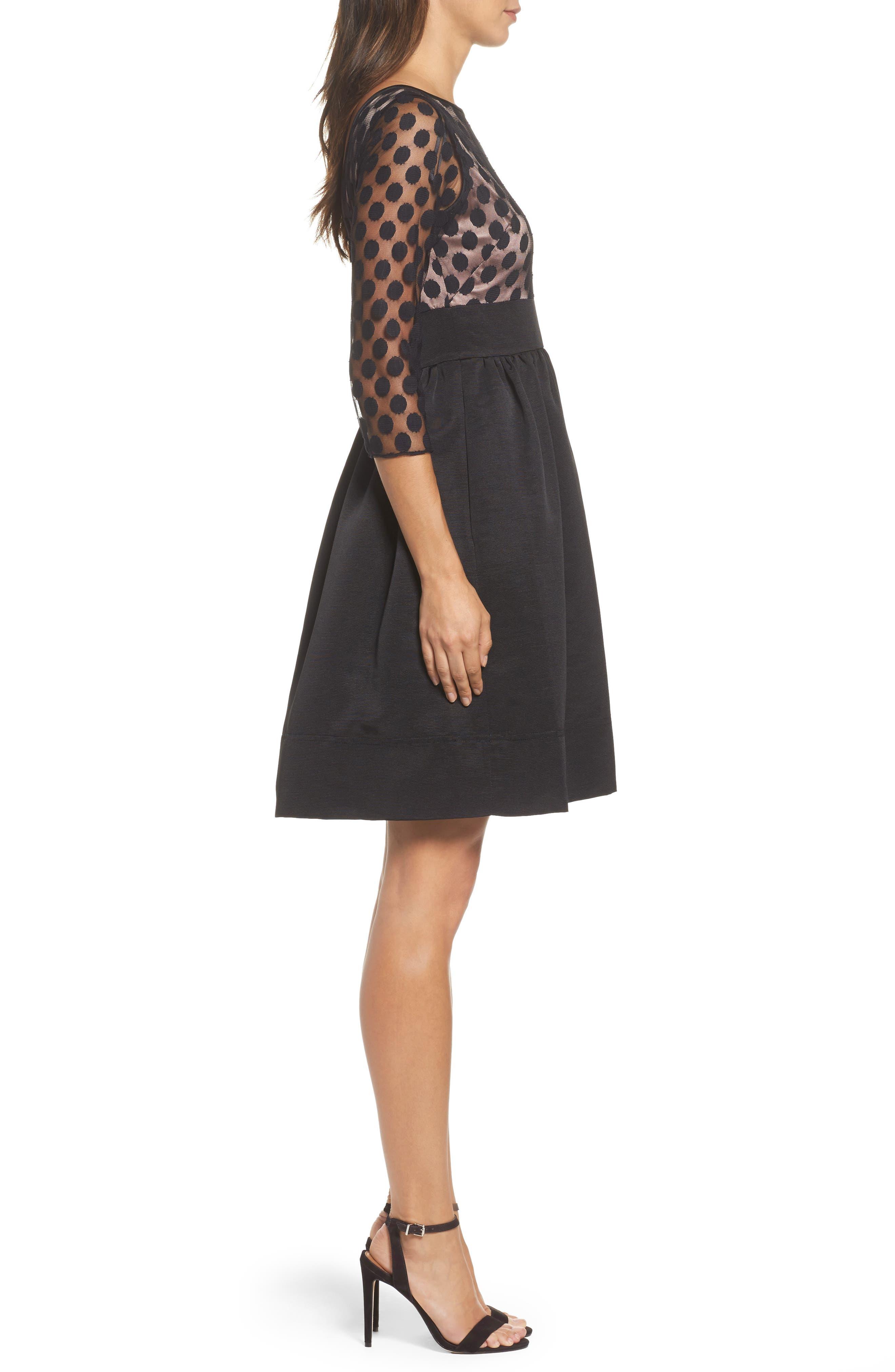 Dot Mesh Bodice Fit & Flare Dress,                             Alternate thumbnail 8, color,