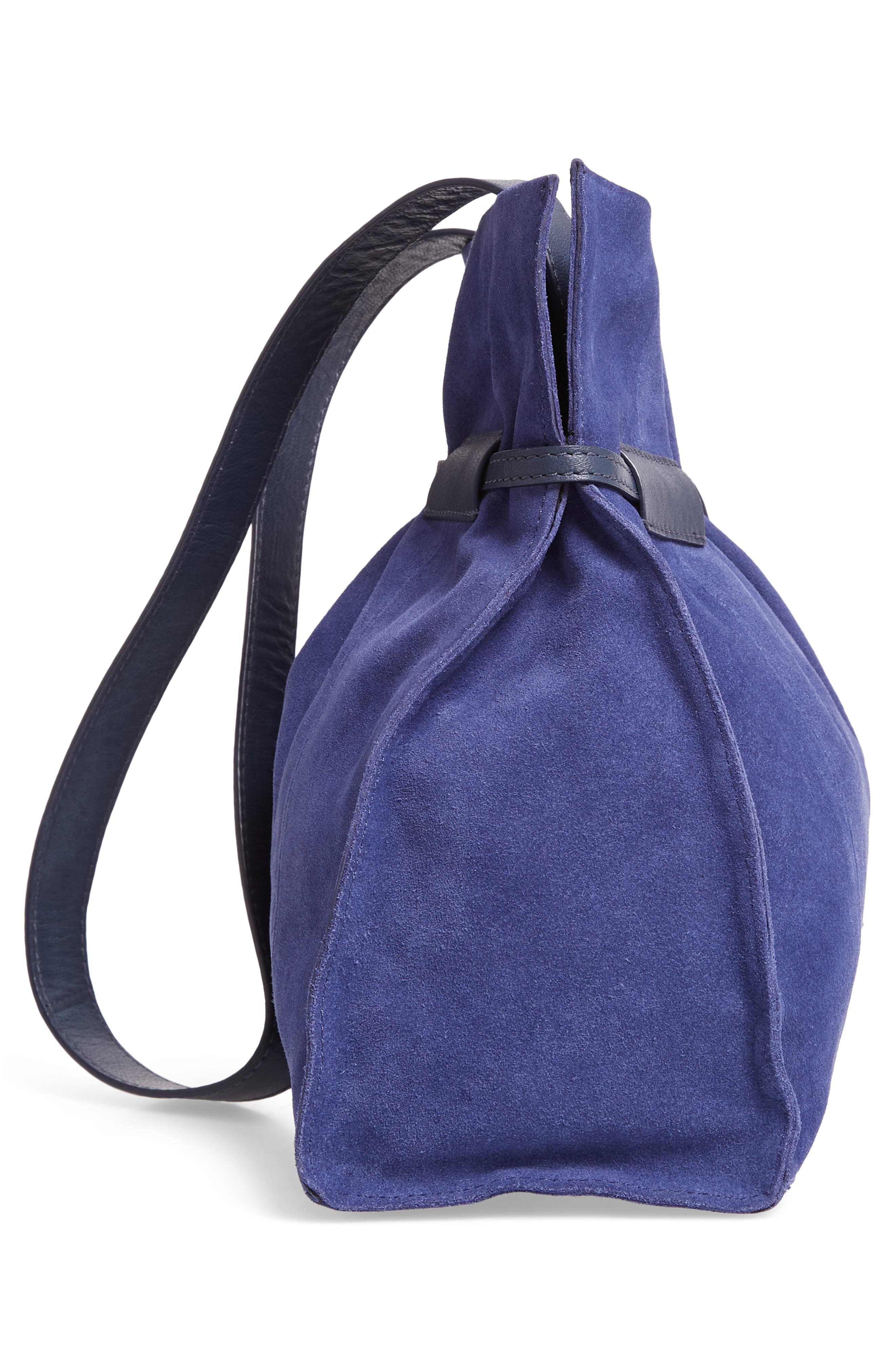 Pull String Faux Leather Bucket Bag,                             Alternate thumbnail 5, color,                             BLUE