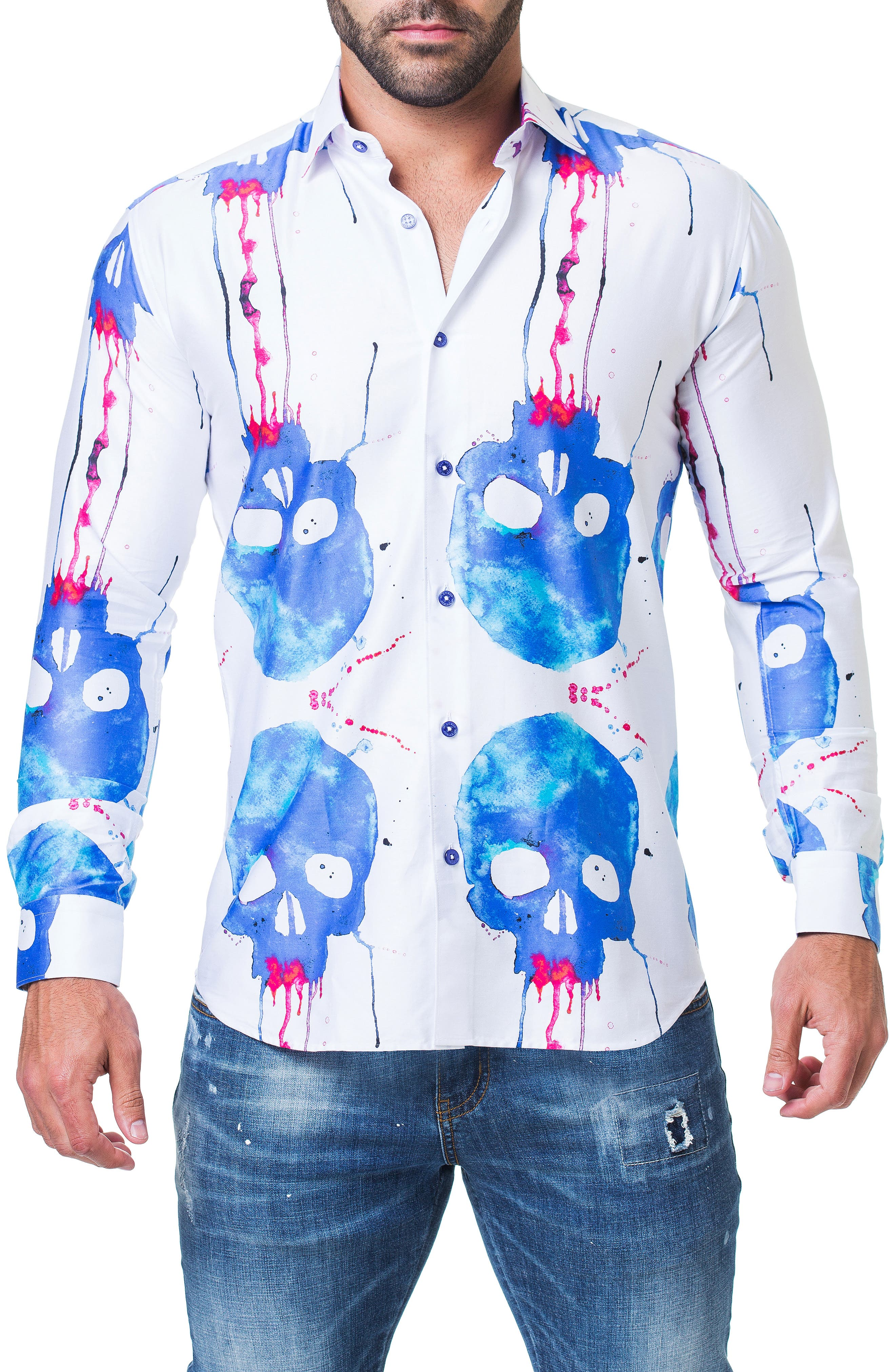Fibonacci Saatchi Skull Print Trim Fit Sport Shirt,                             Main thumbnail 1, color,                             WHITE