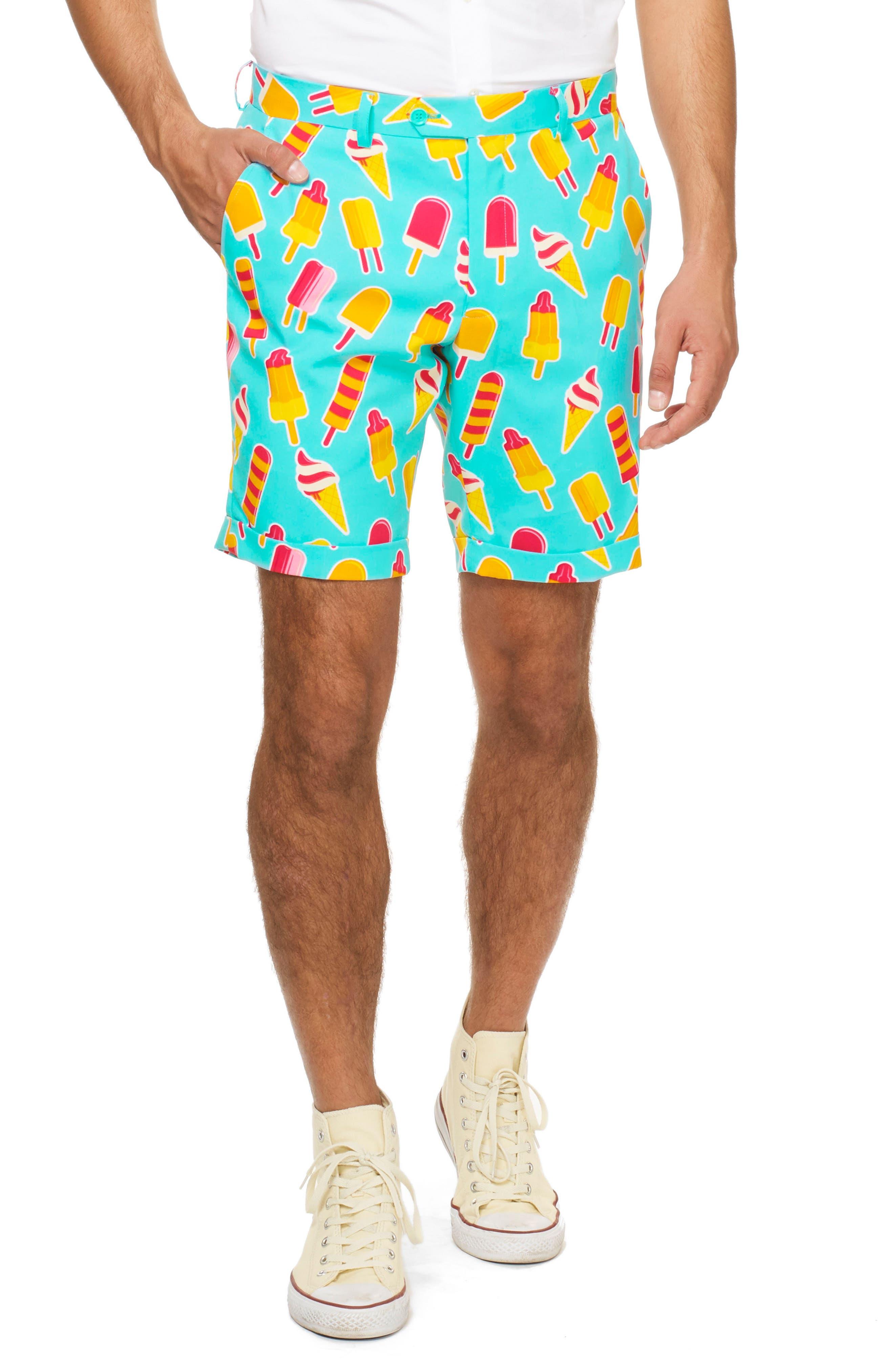 Summer Cool Cones Trim Fit Two-Piece Short Suit with Tie,                             Alternate thumbnail 3, color,                             450