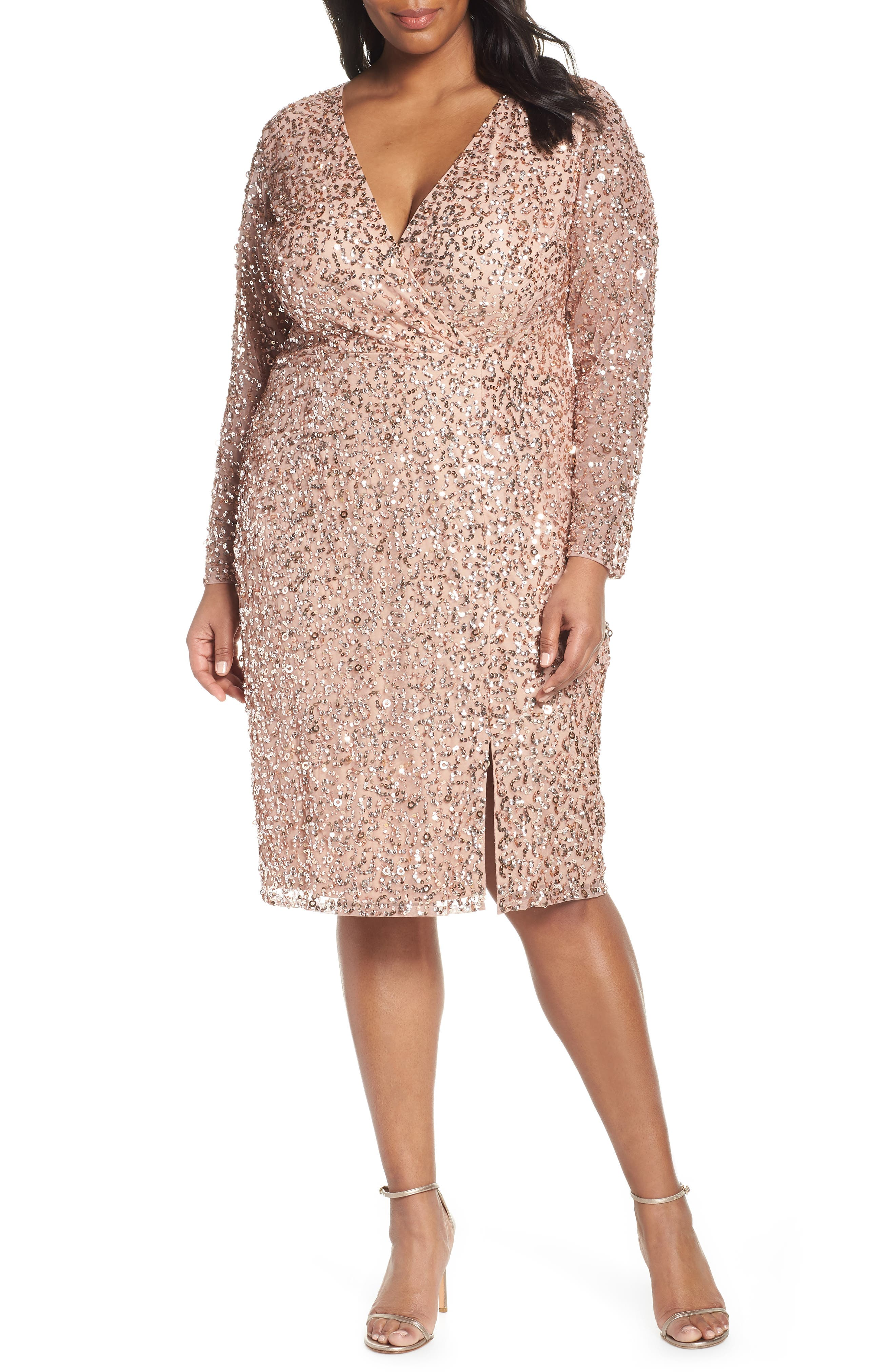 ADRIANNA PAPELL,                             Beaded Mesh Cocktail Dress,                             Main thumbnail 1, color,                             ROSE GOLD