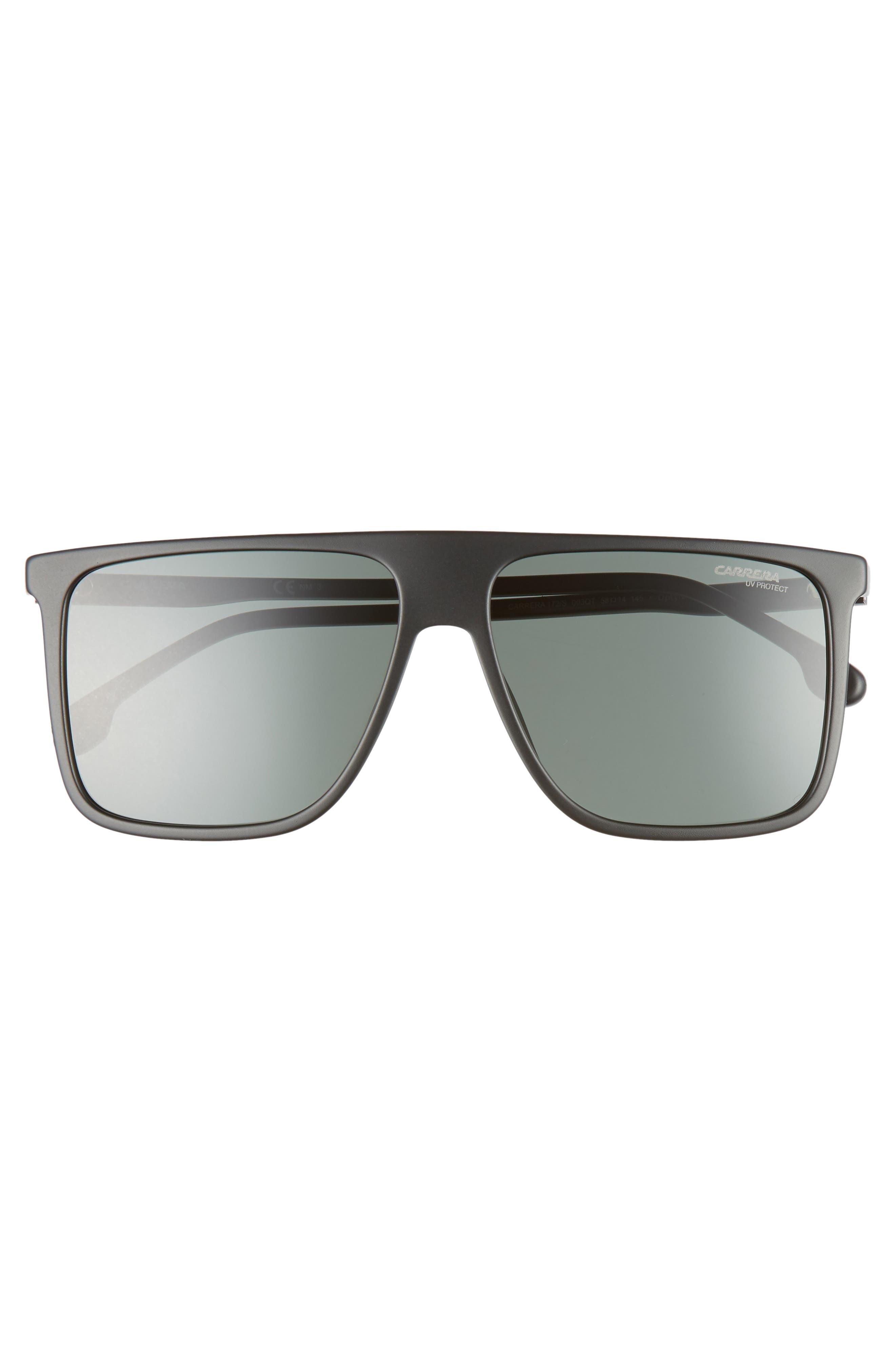 145mm Flat Top Sunglasses,                             Alternate thumbnail 2, color,                             MATTE BLACK