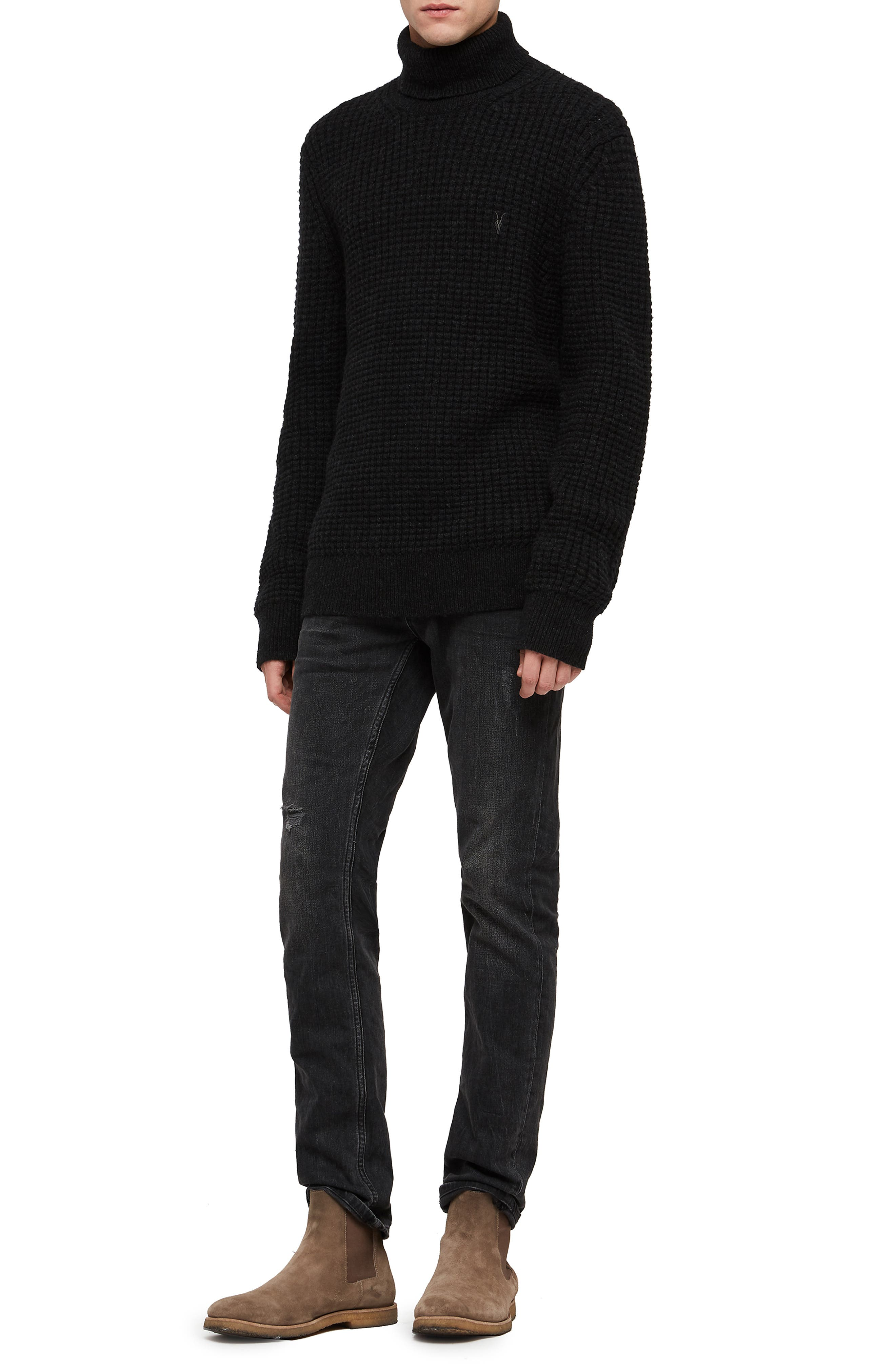 Mast Slim Fit Funnel Neck Sweater,                             Alternate thumbnail 4, color,                             CINDER BLACK MARL