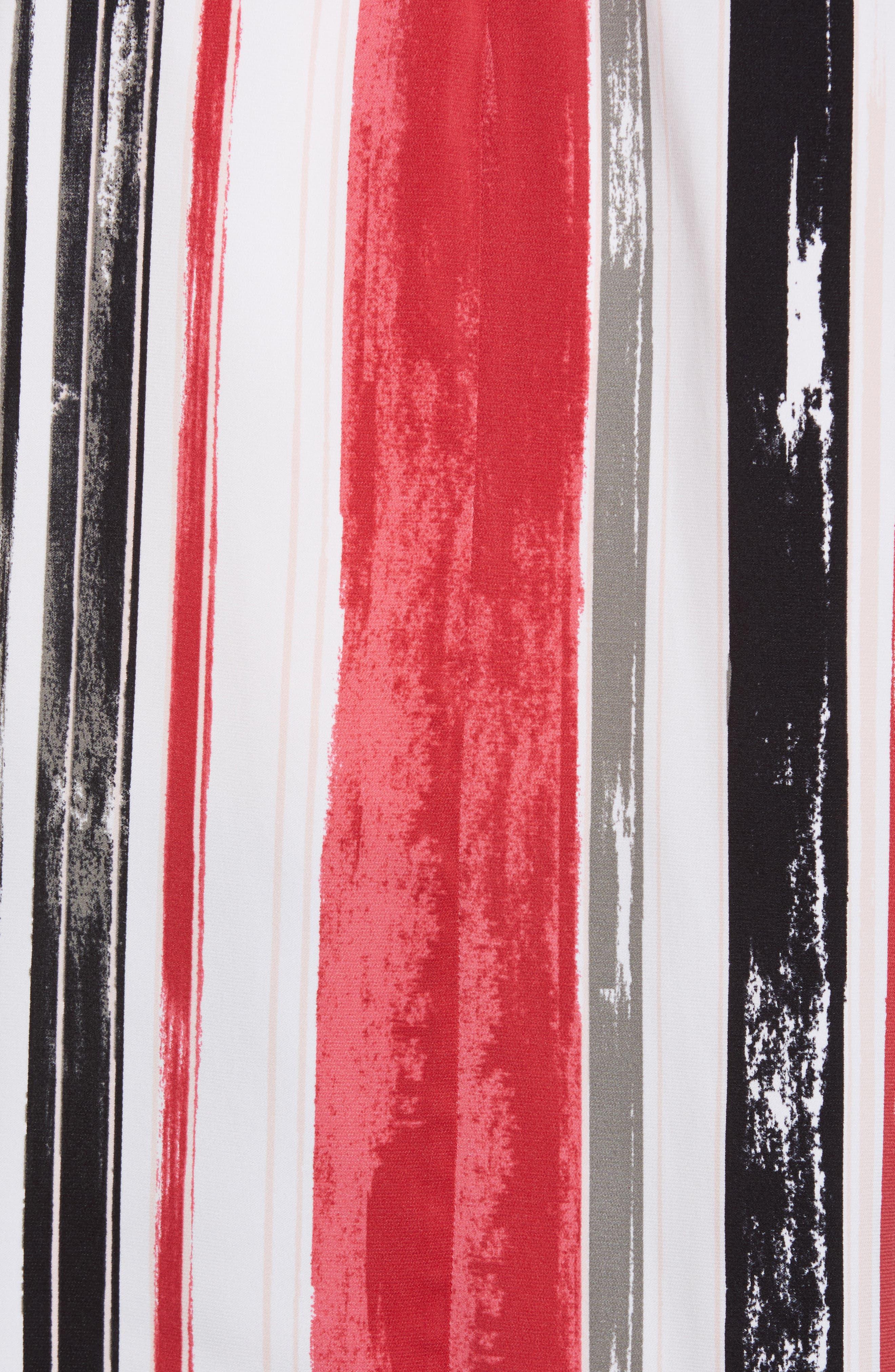 Short Sleeve Stripe Stretch Silk Blouse,                             Alternate thumbnail 6, color,                             900