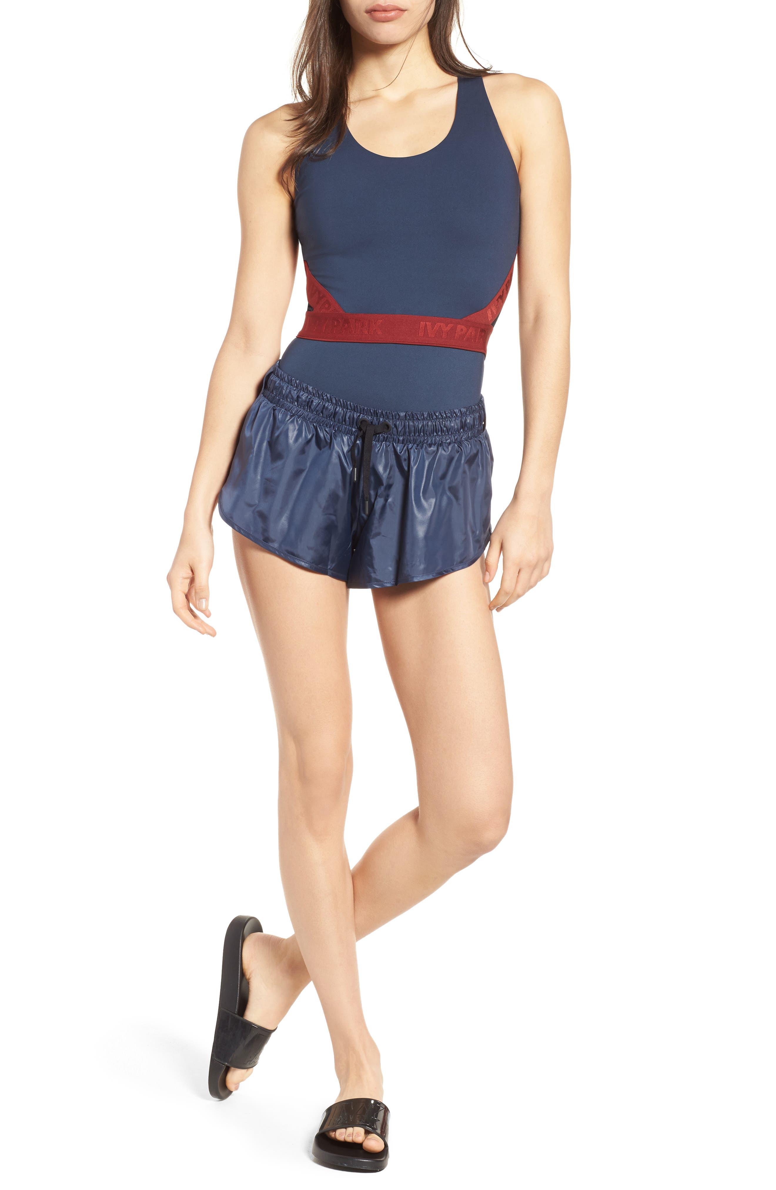 Colorblock Mesh Inset Bodysuit,                             Main thumbnail 1, color,
