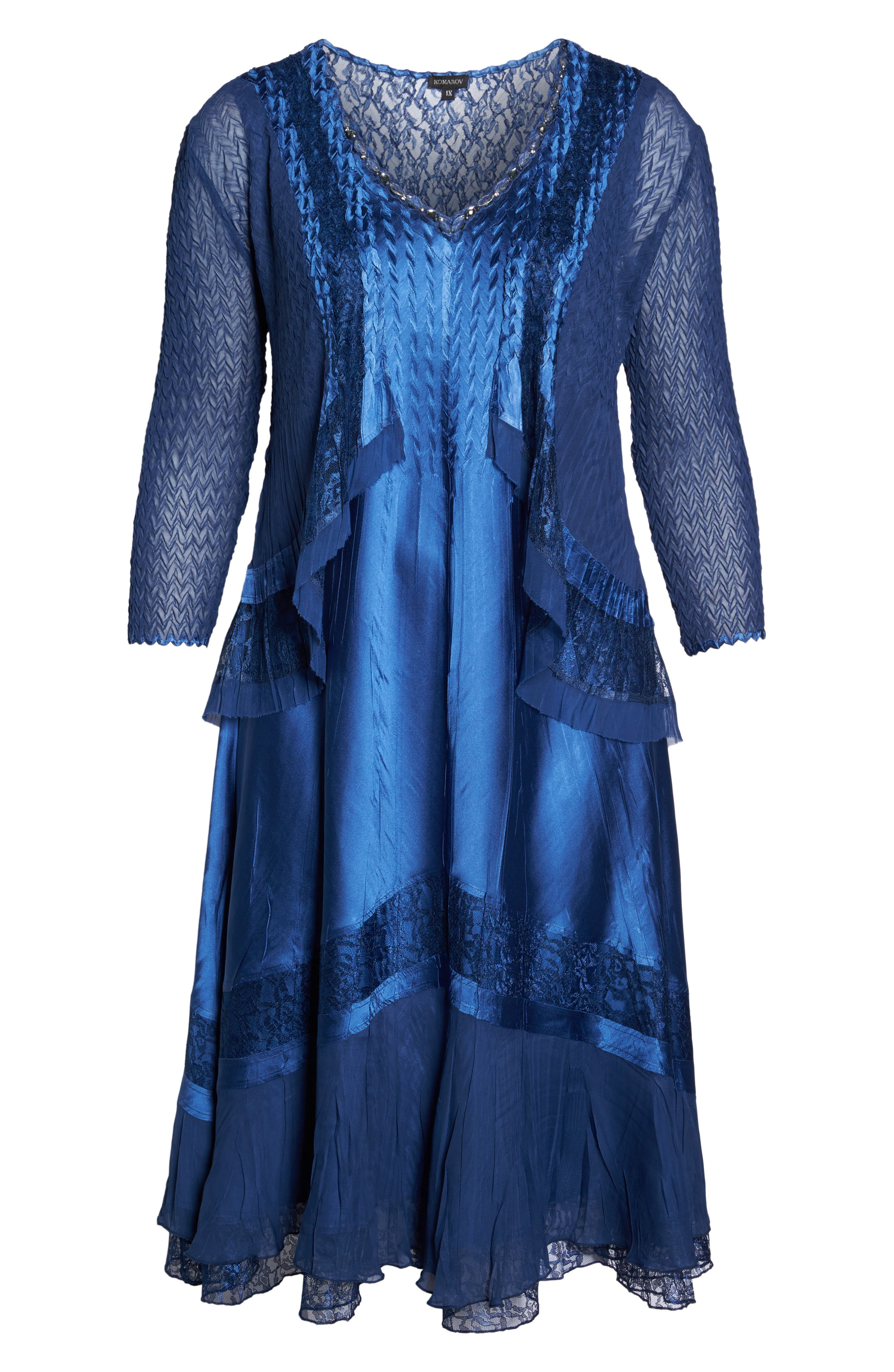 Charmeuse & Chiffon Jacket Dress,                             Alternate thumbnail 6, color,                             412