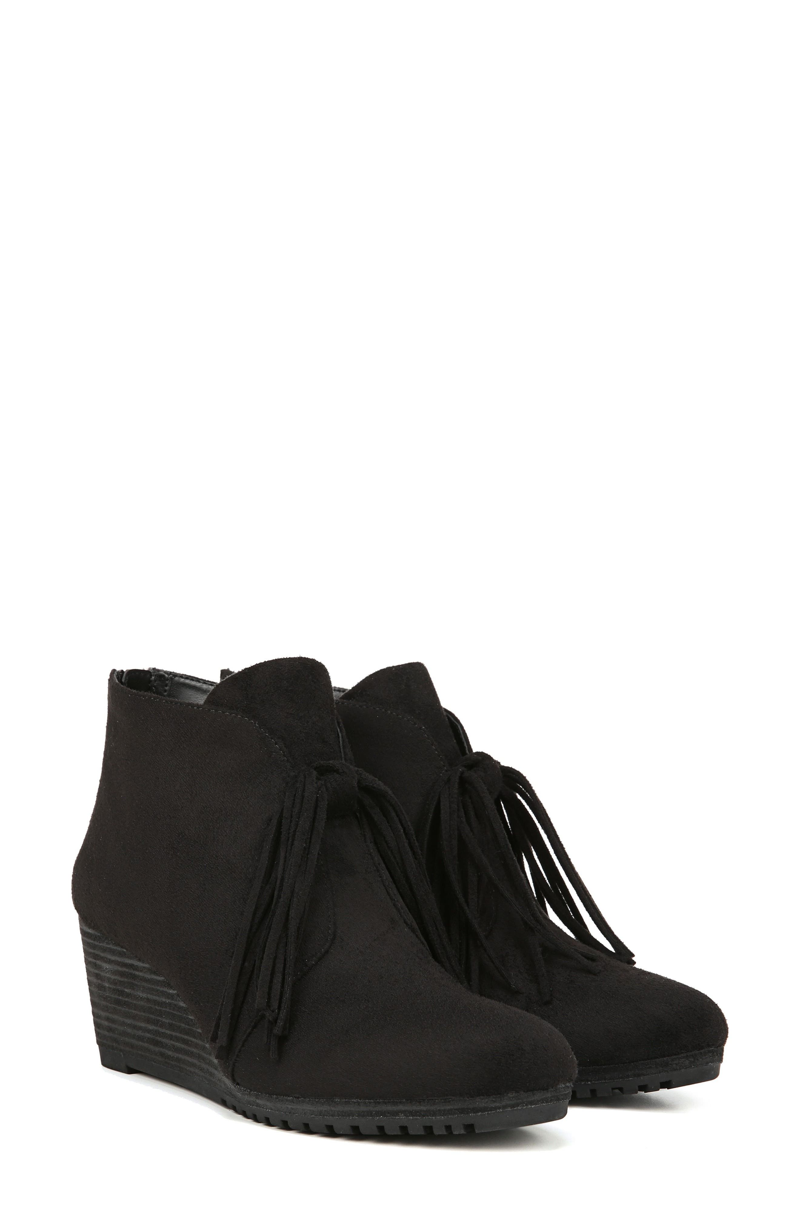 Classify Tassel Wedge Bootie,                             Alternate thumbnail 8, color,                             BLACK FABRIC