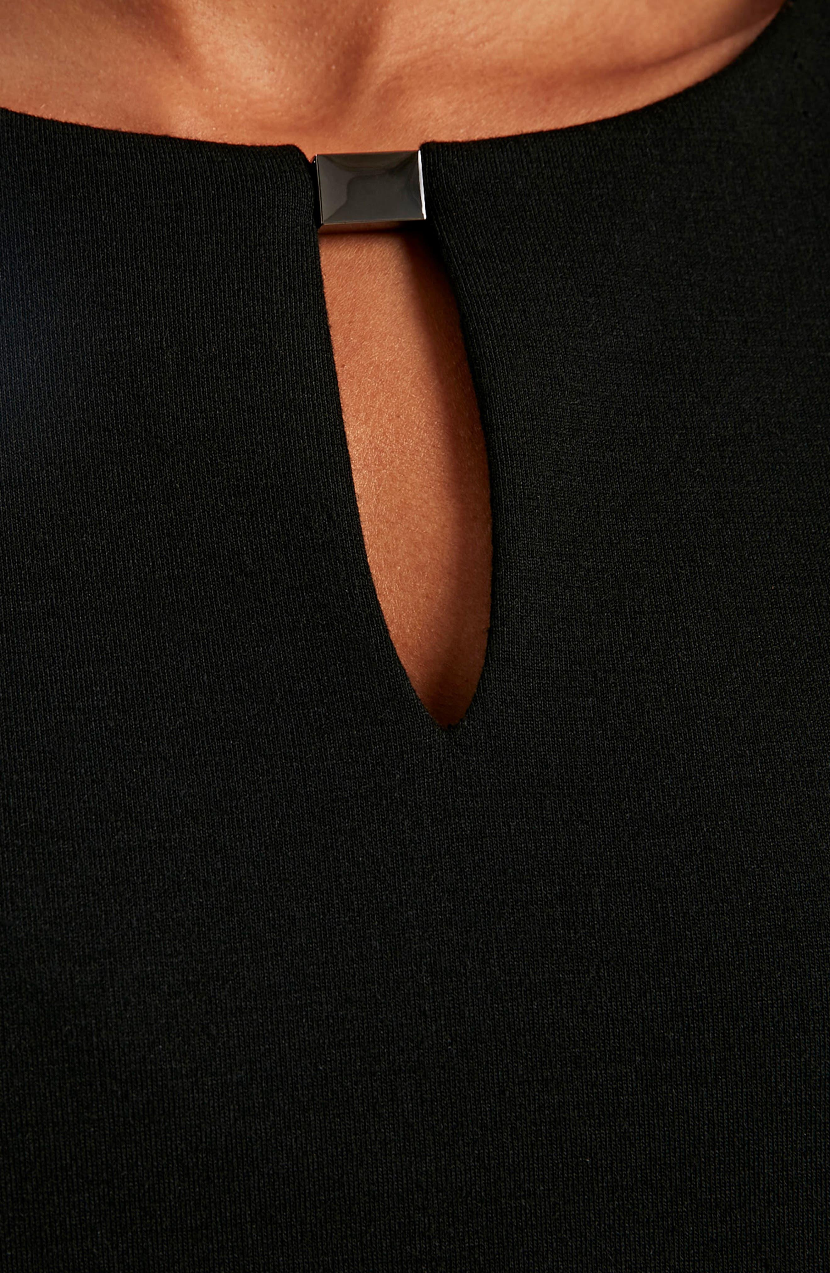Bell Sleeve Keyhole Neck Dress,                             Alternate thumbnail 5, color,