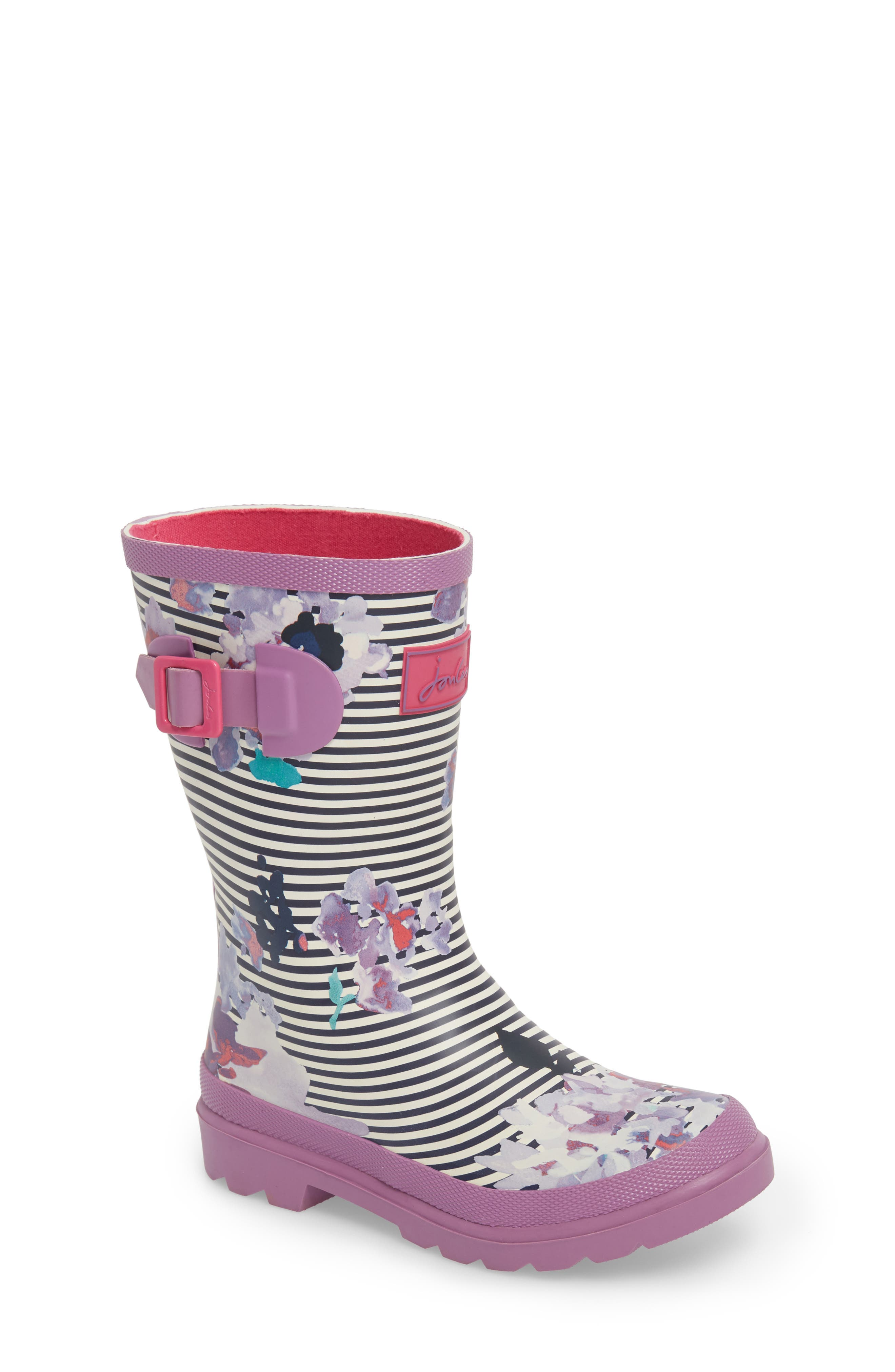 Mid Height Print Welly Rain Boot,                             Main thumbnail 1, color,                             VIOLET STRIPE FLORAL