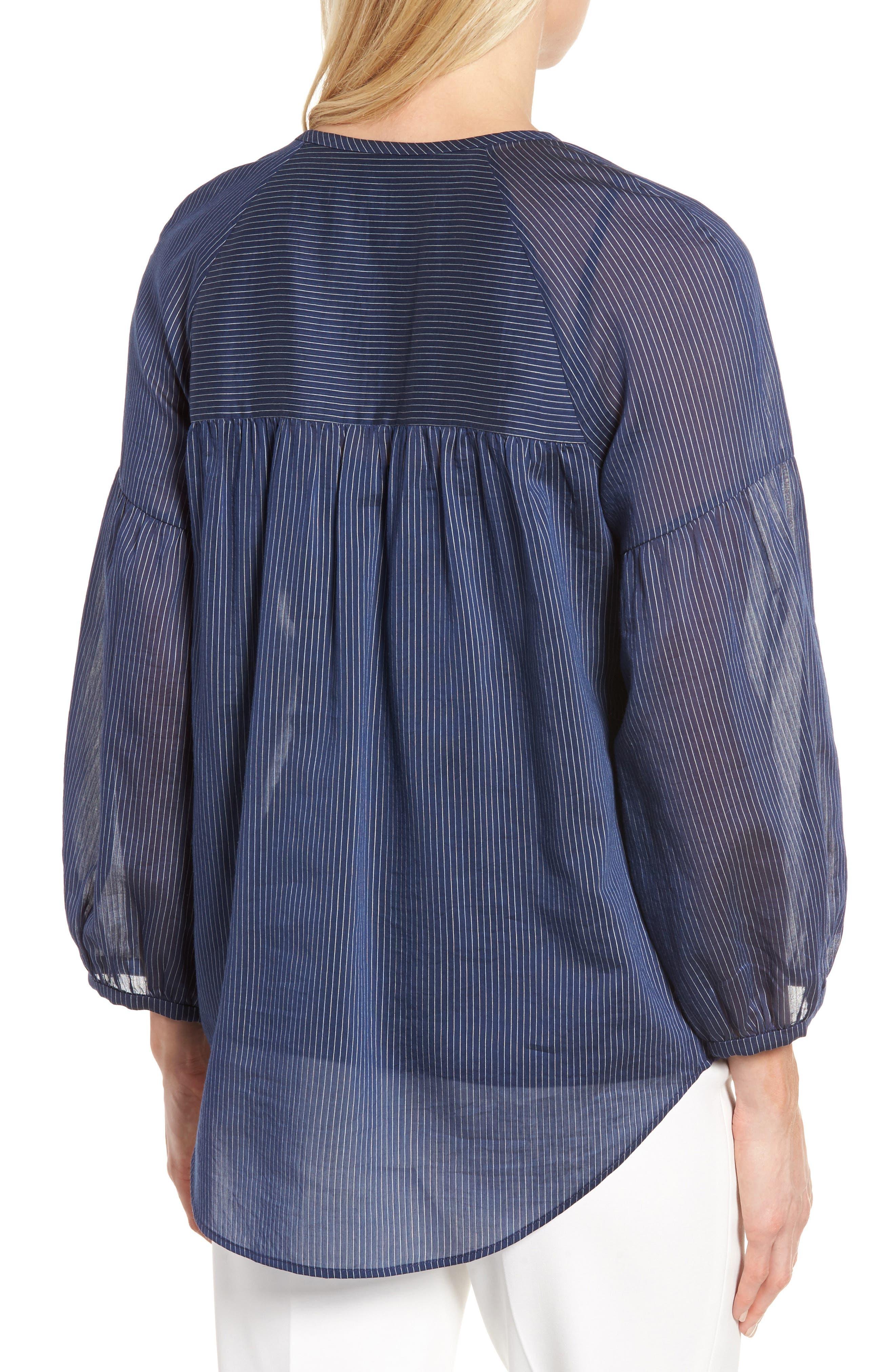Stripe Cotton & Silk Top,                             Alternate thumbnail 2, color,                             410