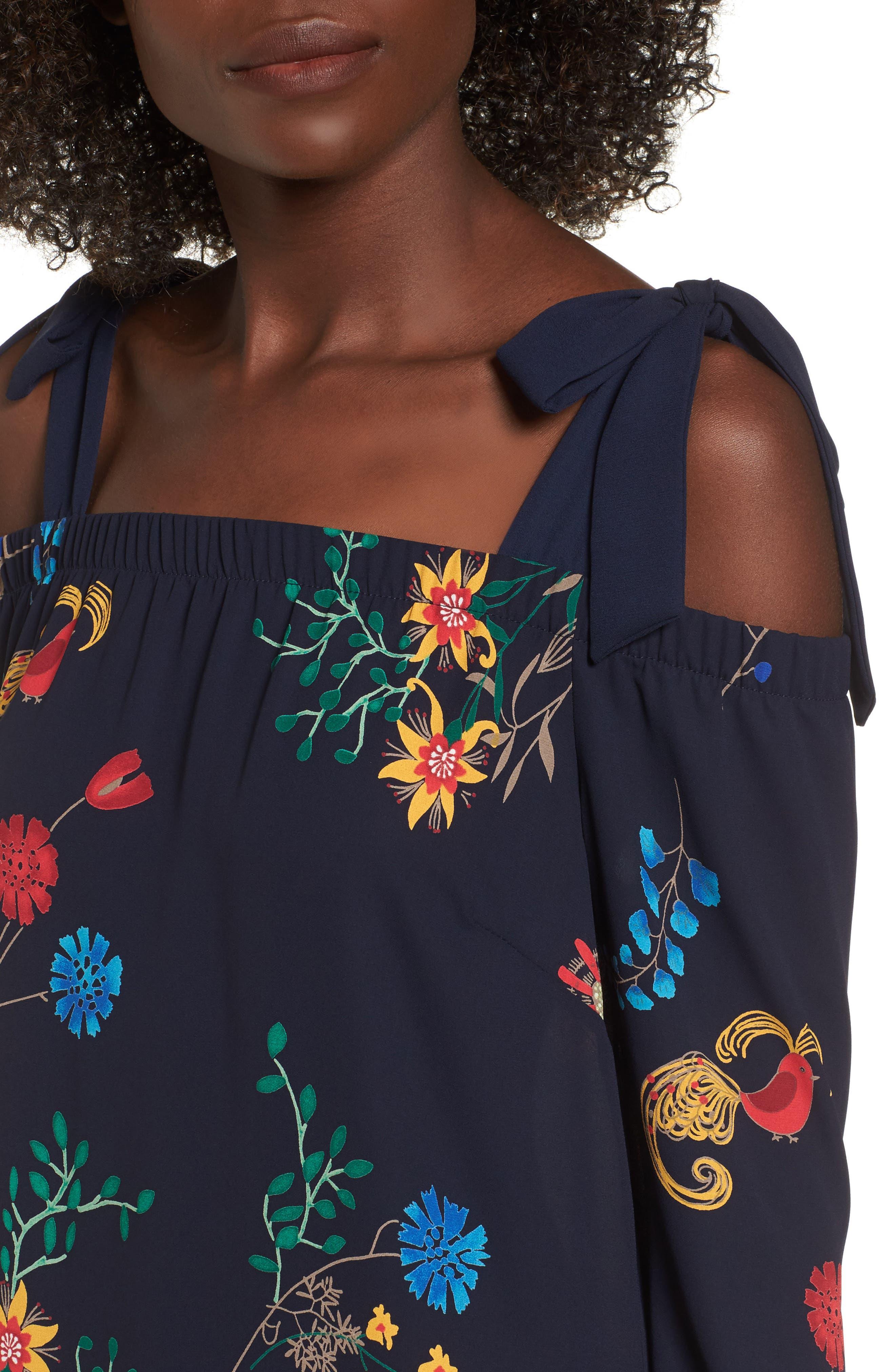 Print Off the Shoulder Midi Dress,                             Alternate thumbnail 4, color,                             410