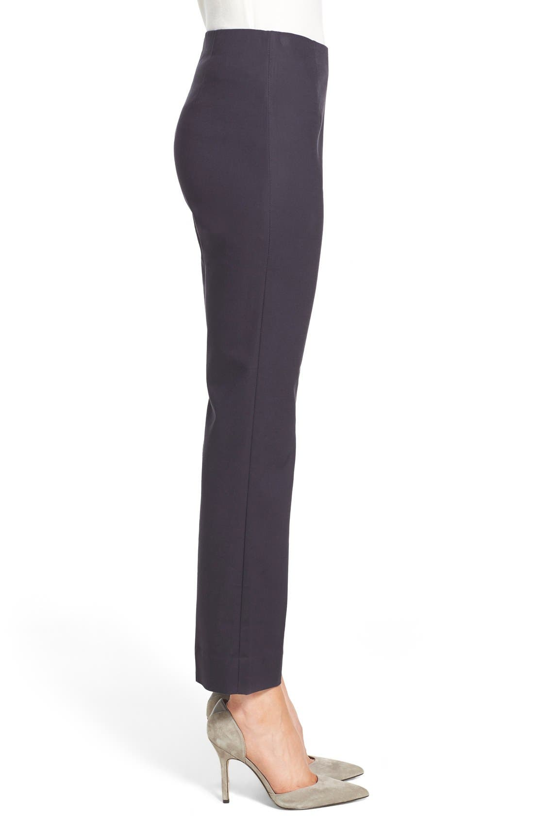 'Perfect' Side Zip Ankle Pants,                             Alternate thumbnail 3, color,                             MIDNIGHT