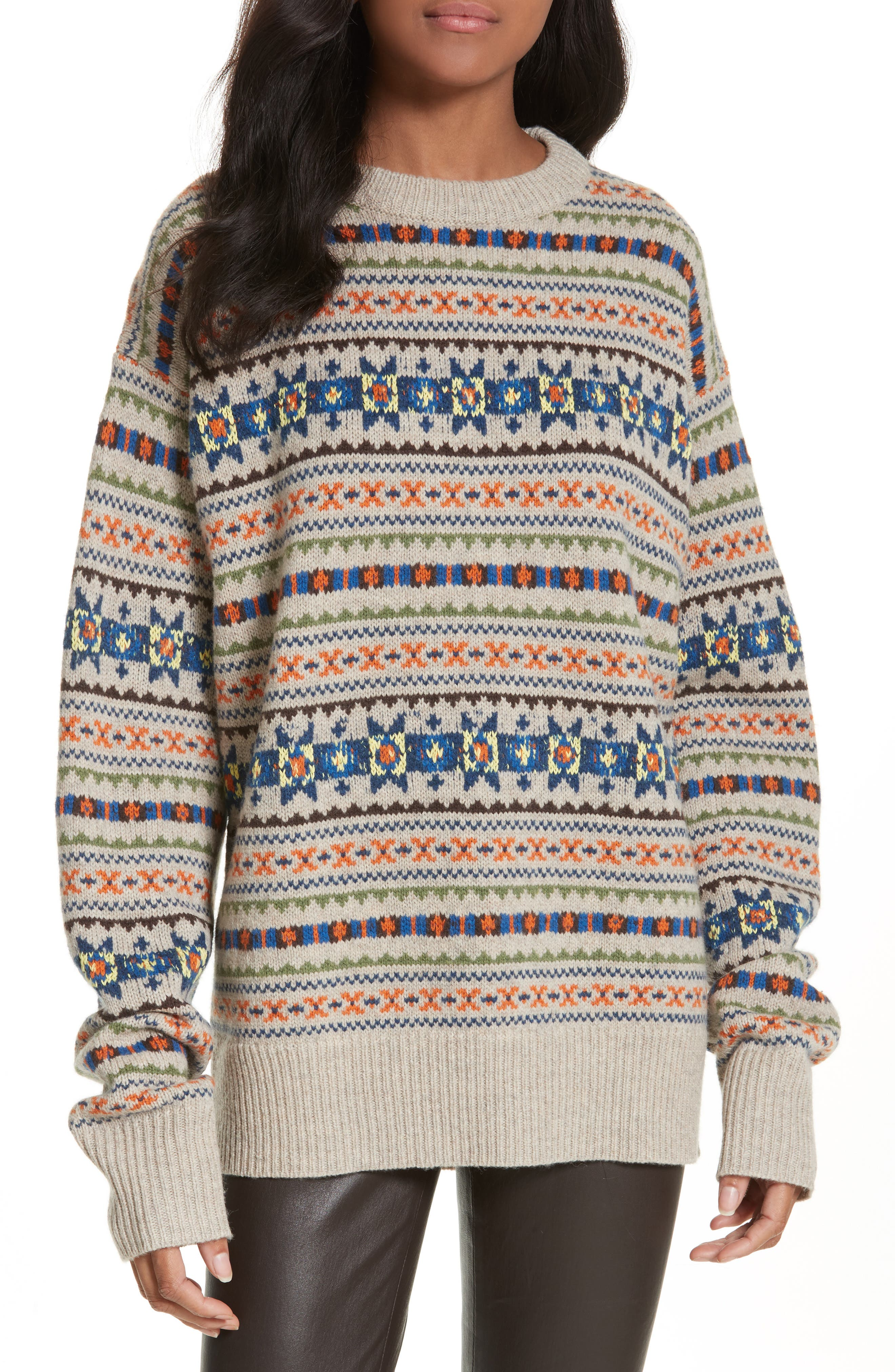 Double Layer Fair Isle Sweater,                         Main,                         color,