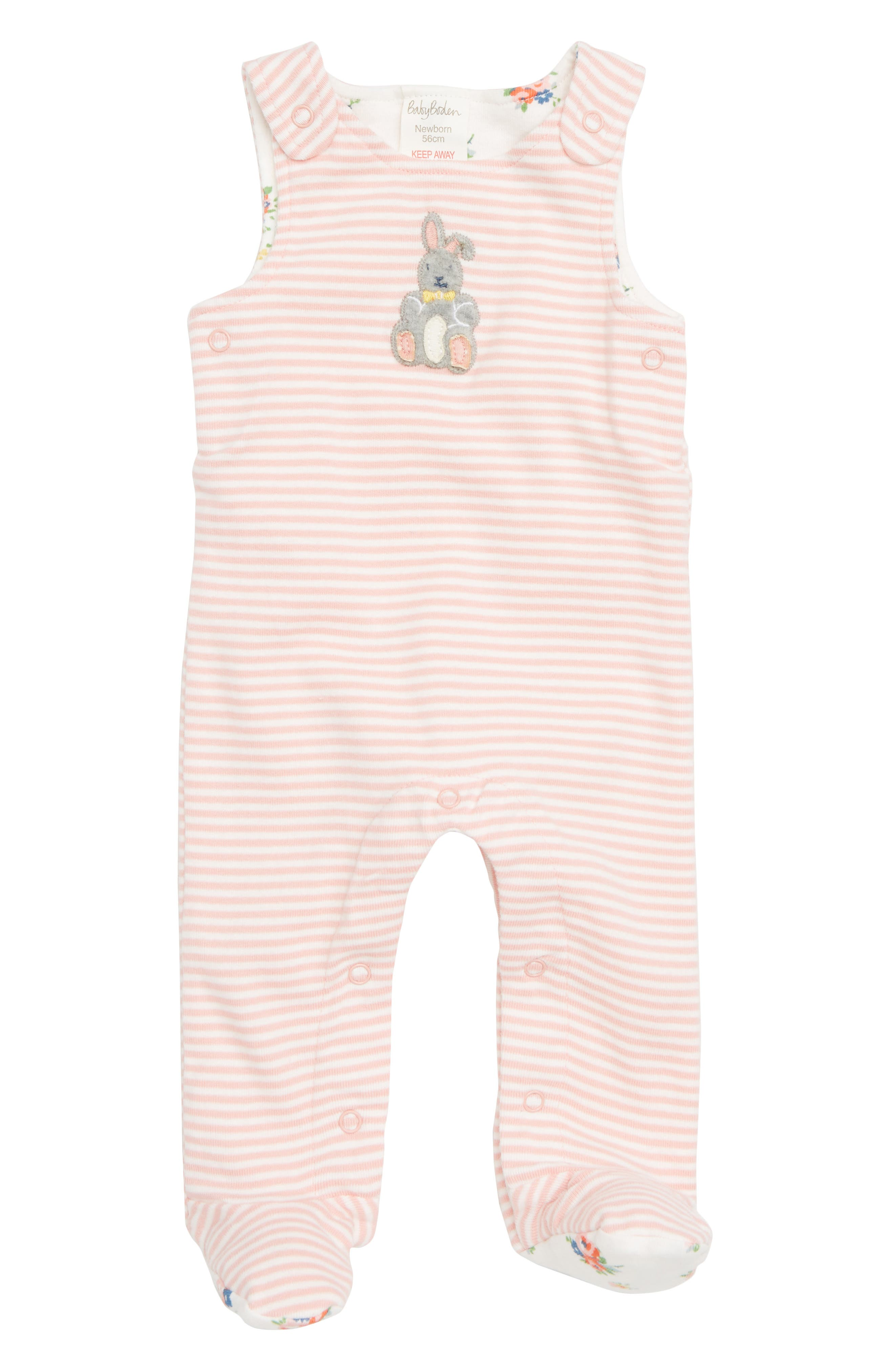 Organic Cotton Dunagree Footie,                             Main thumbnail 1, color,                             SHELL PINK/ IVORY BUNNY