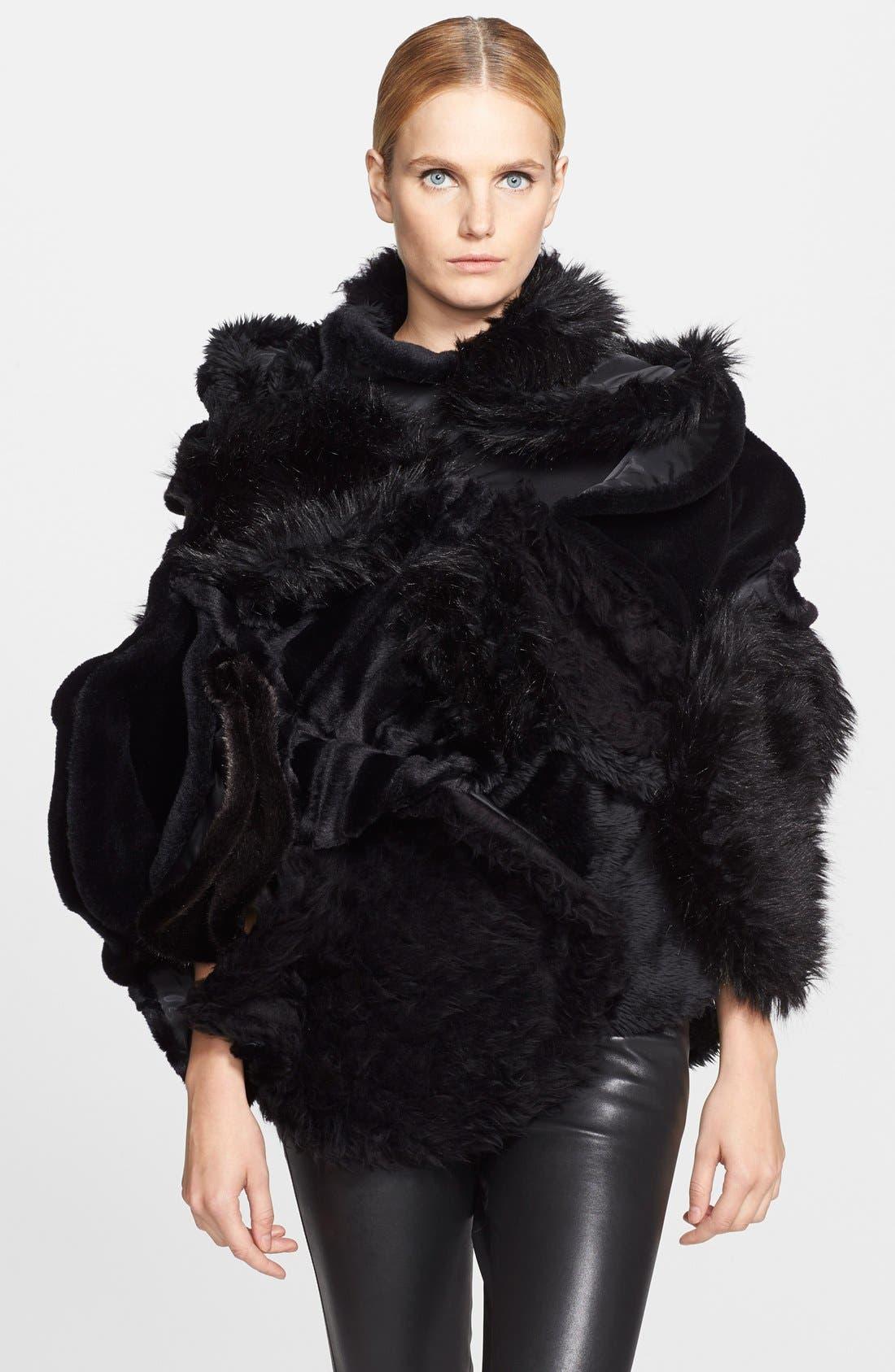 Faux Fur Cape,                         Main,                         color, 001