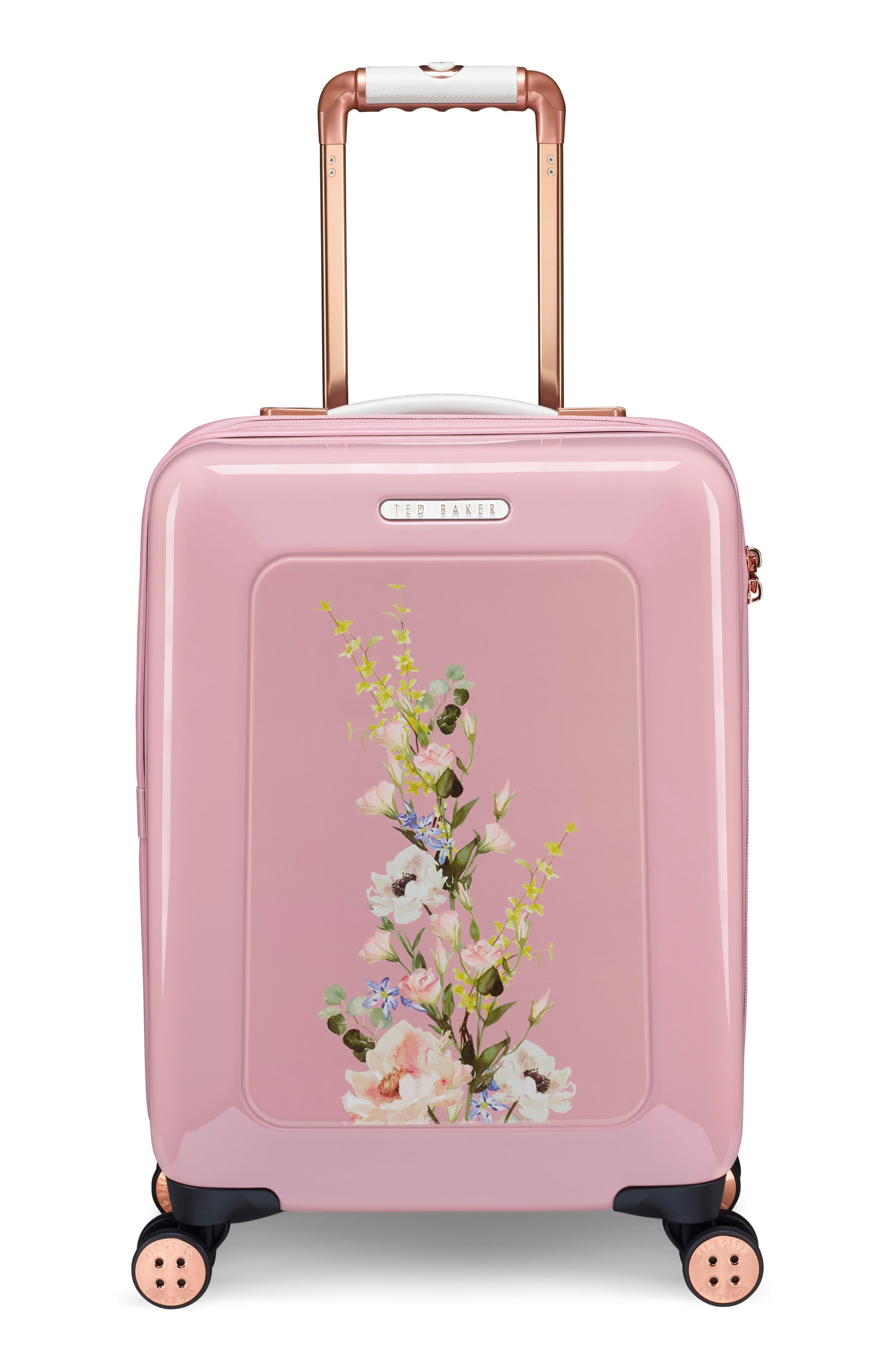 TED BAKER LONDON,                             Small Elegant Print 21-Inch Spinner Carry-On,                             Main thumbnail 1, color,                             PINK