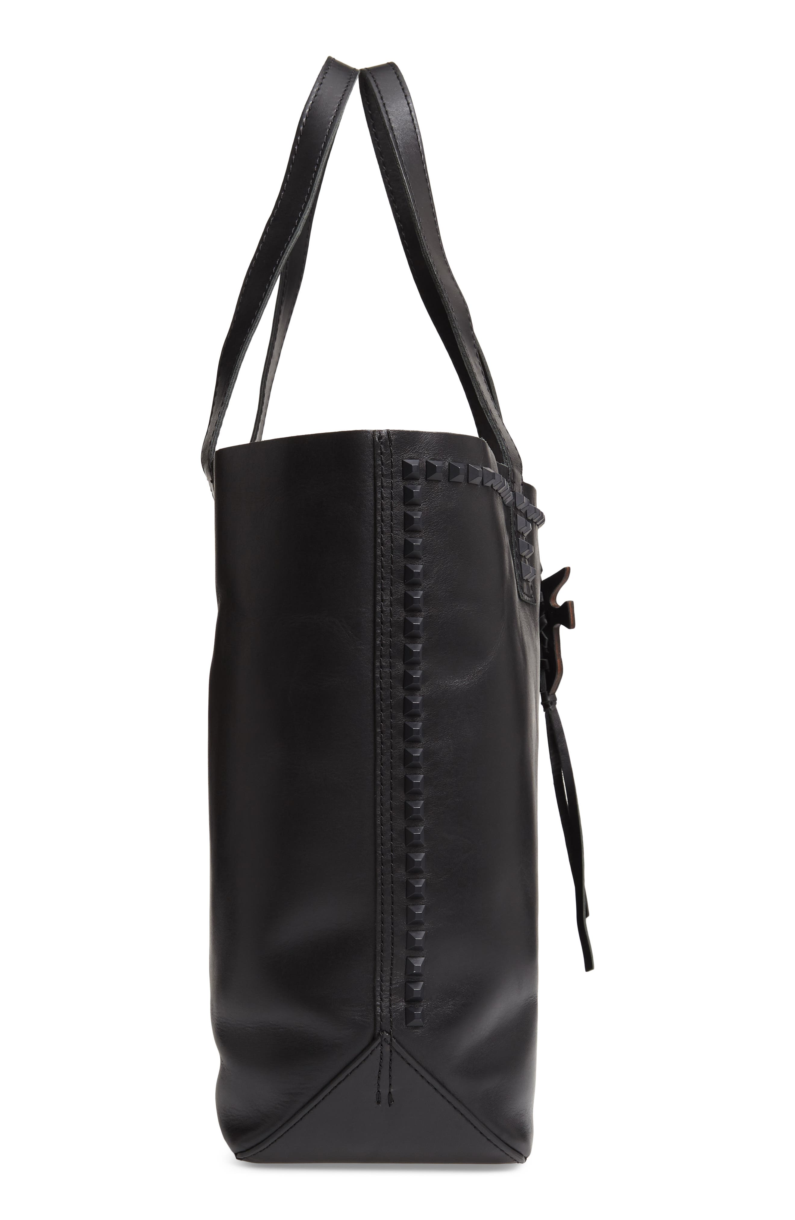 Carson Studded Leather Tote,                             Alternate thumbnail 5, color,                             BLACK