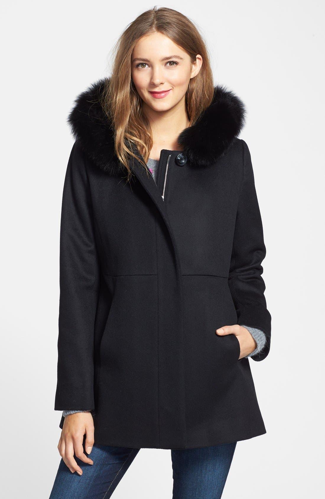 Genuine Fox Fur Trim Hooded Wool Blend Coat,                         Main,                         color, 001