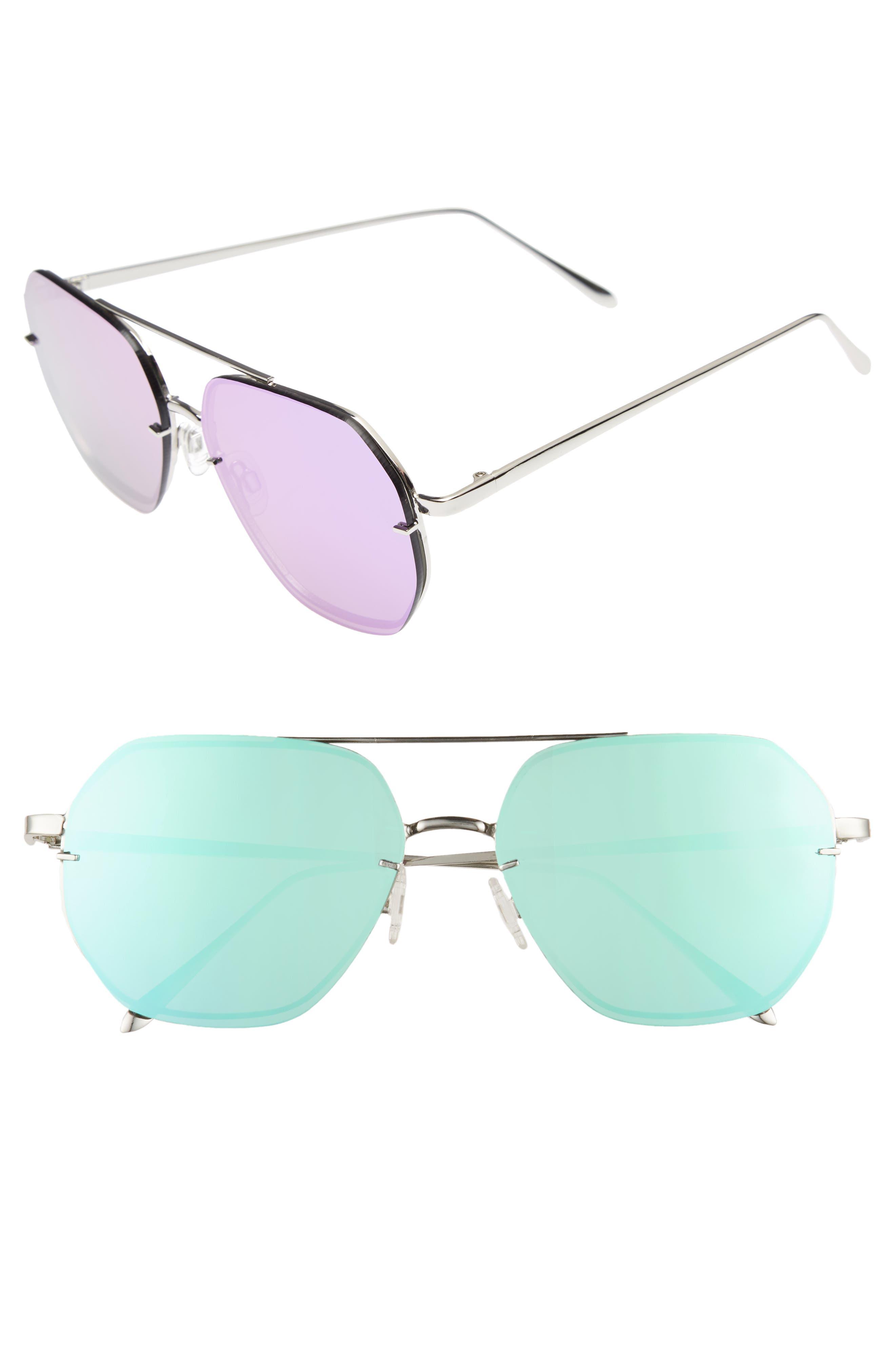 62mm Metal Flat Geo Aviator Sunglasses,                             Main thumbnail 1, color,                             SILVER/ PURPLE