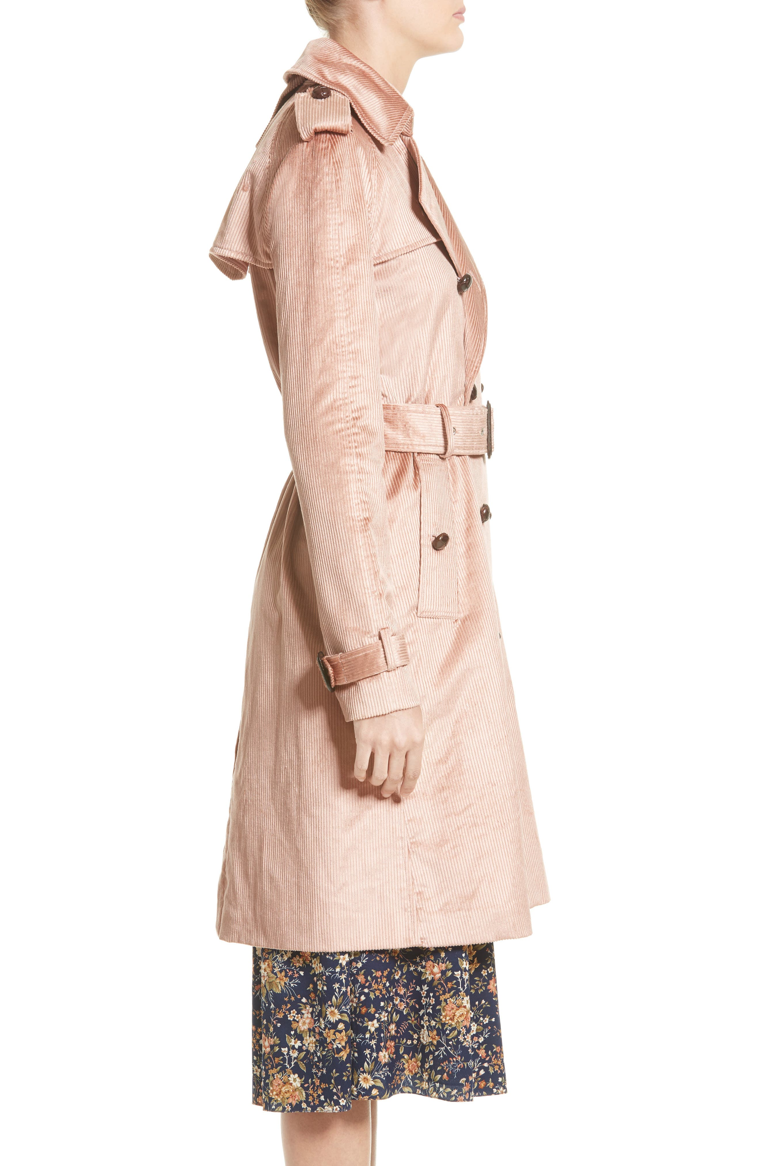 Corduroy Belted Trench Coat,                             Alternate thumbnail 3, color,                             680