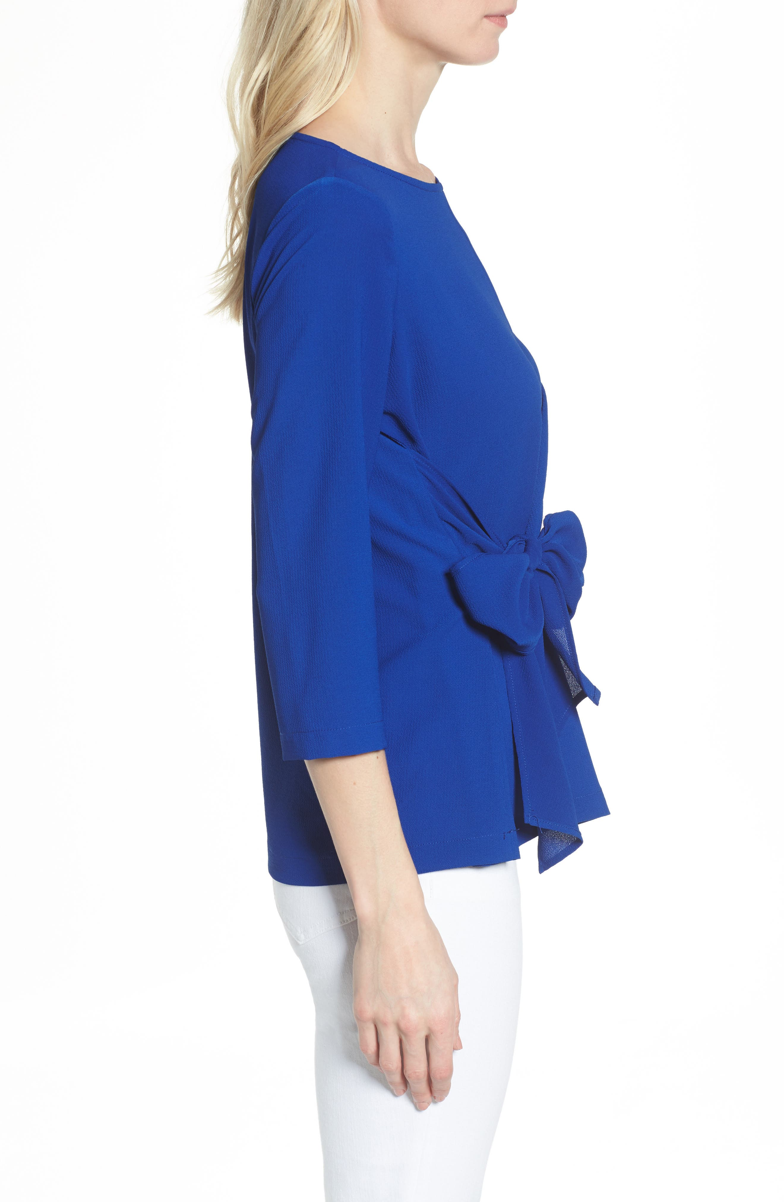 Tie Front Crepe Top,                             Alternate thumbnail 3, color,                             NEON ROYAL