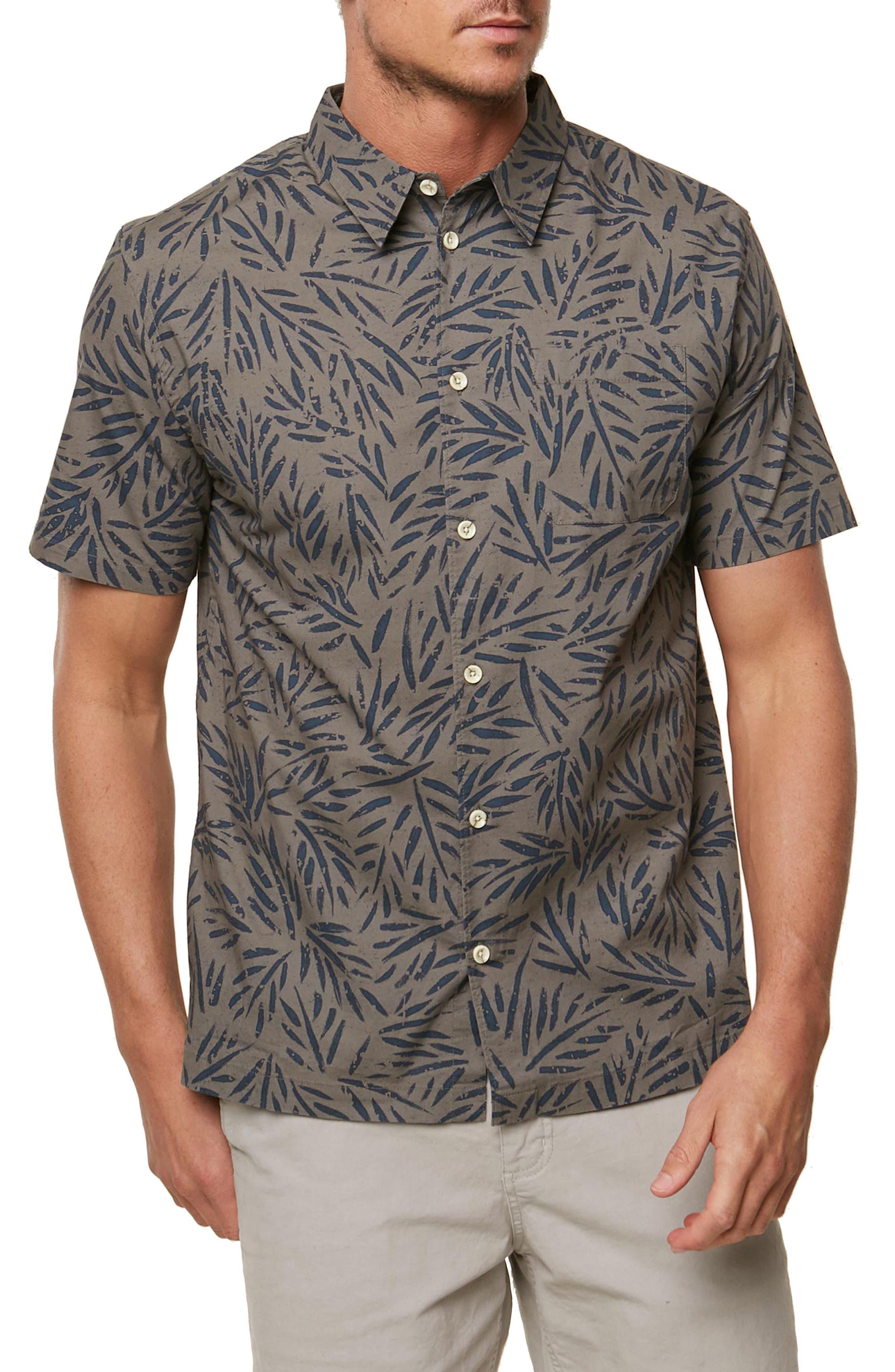 Palms Away Regular Fit Sport Shirt,                             Main thumbnail 1, color,                             GREY