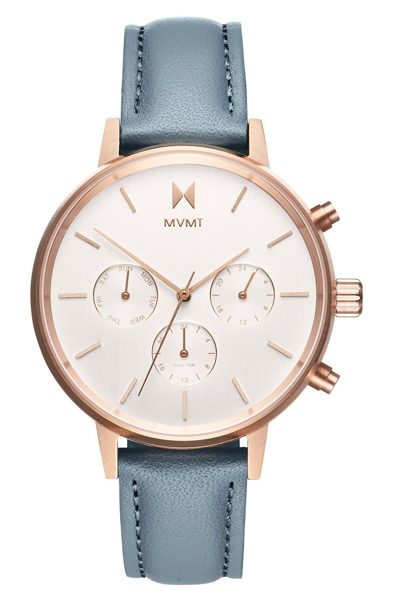 MVMT Nova Chronograph Leather Strap Watch, 38mm, Main, color, SLATE/ BEIGE/ ROSE GOLD