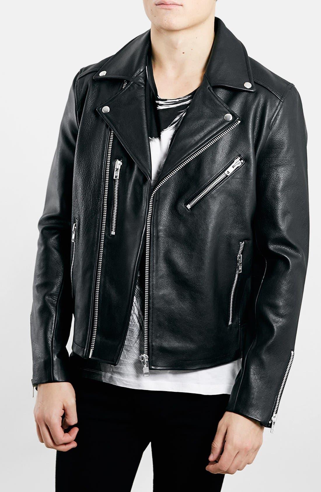 TOPMAN,                             Black Leather Biker Jacket,                             Main thumbnail 1, color,                             001