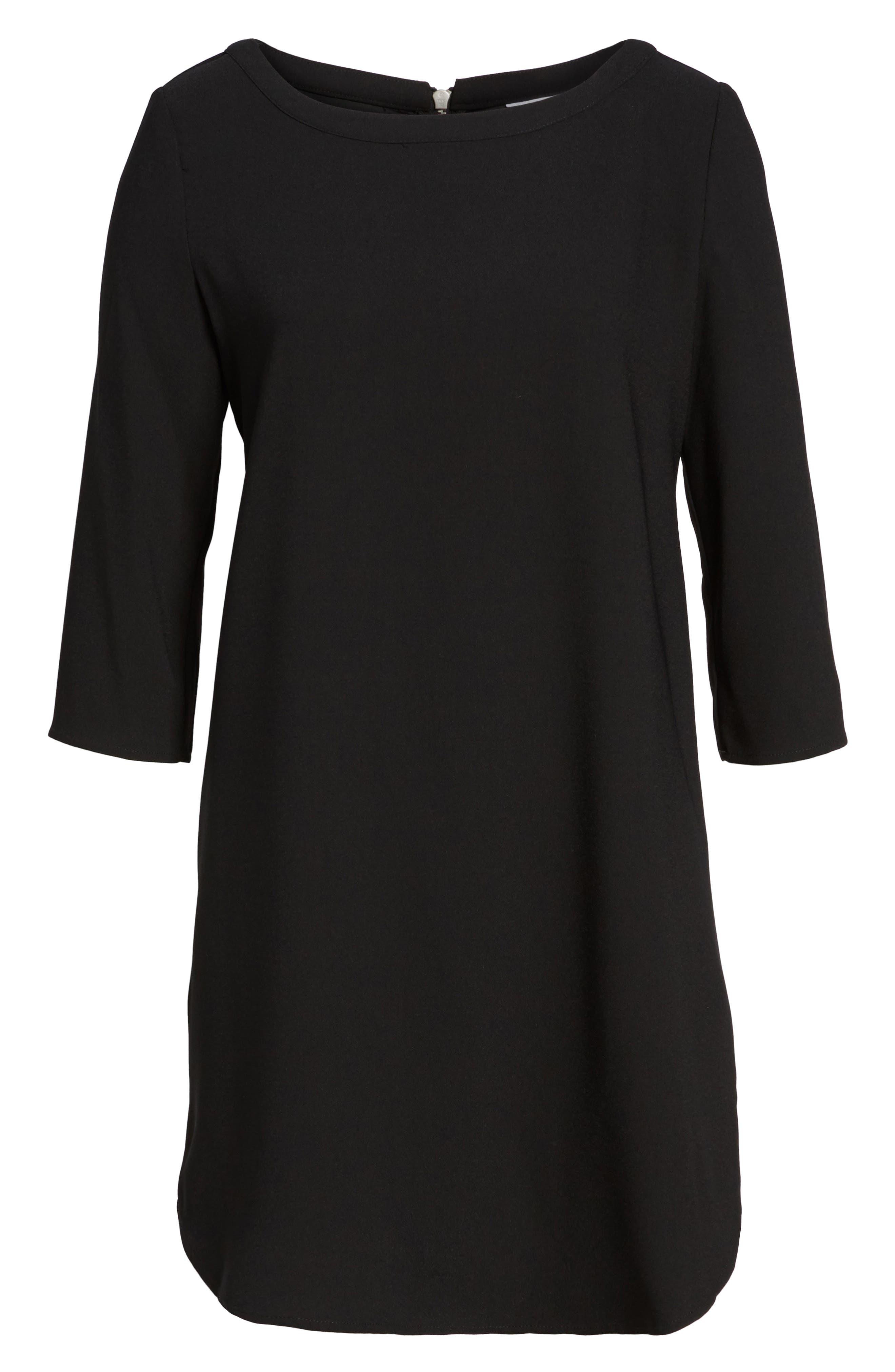 'Jazlyn' Crepe Shift Dress,                         Main,                         color, BLACK