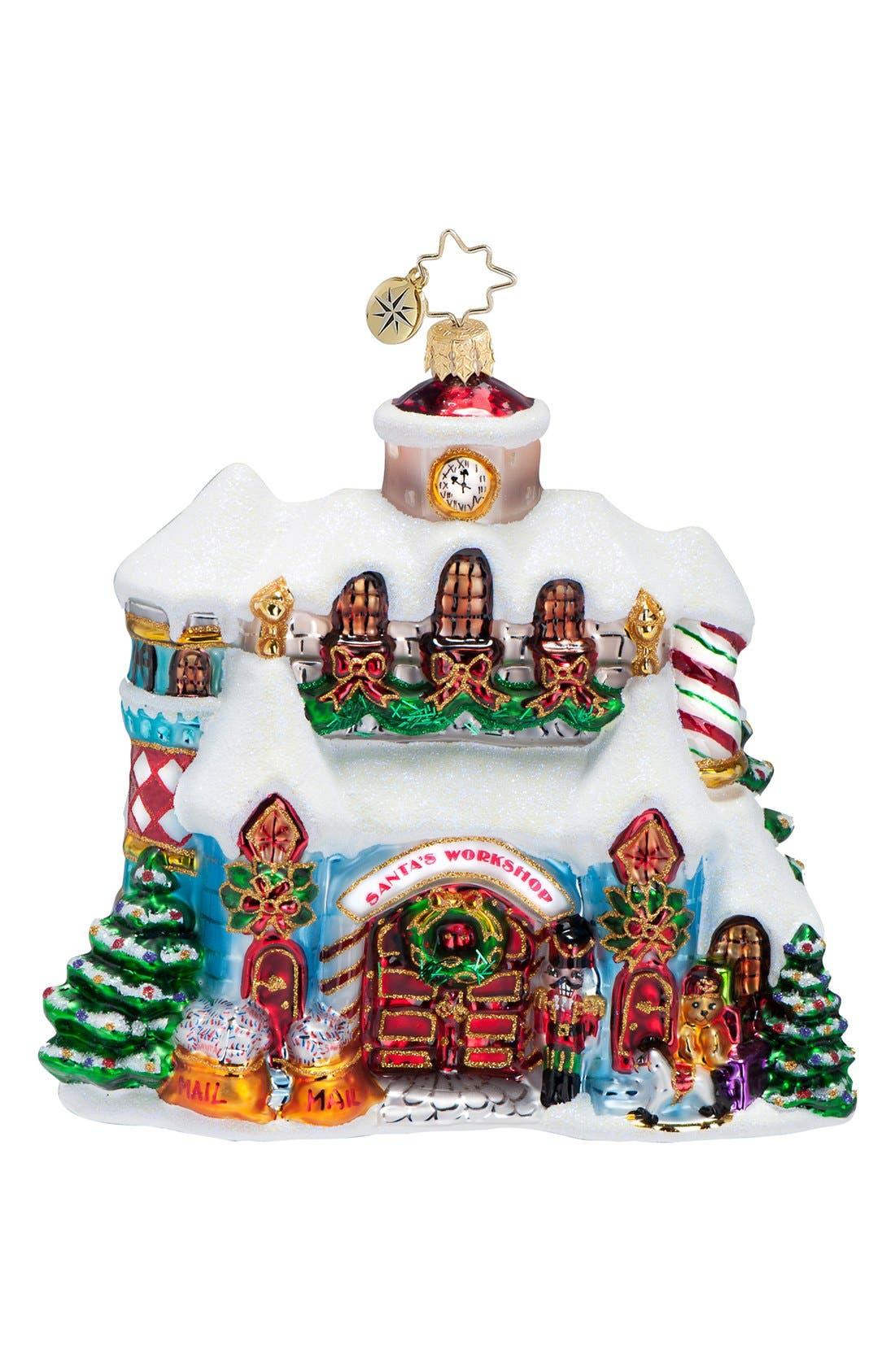 'Making Christmas Magic' Handcrafted Glass Santa's Workshop Ornament,                             Main thumbnail 1, color,                             100