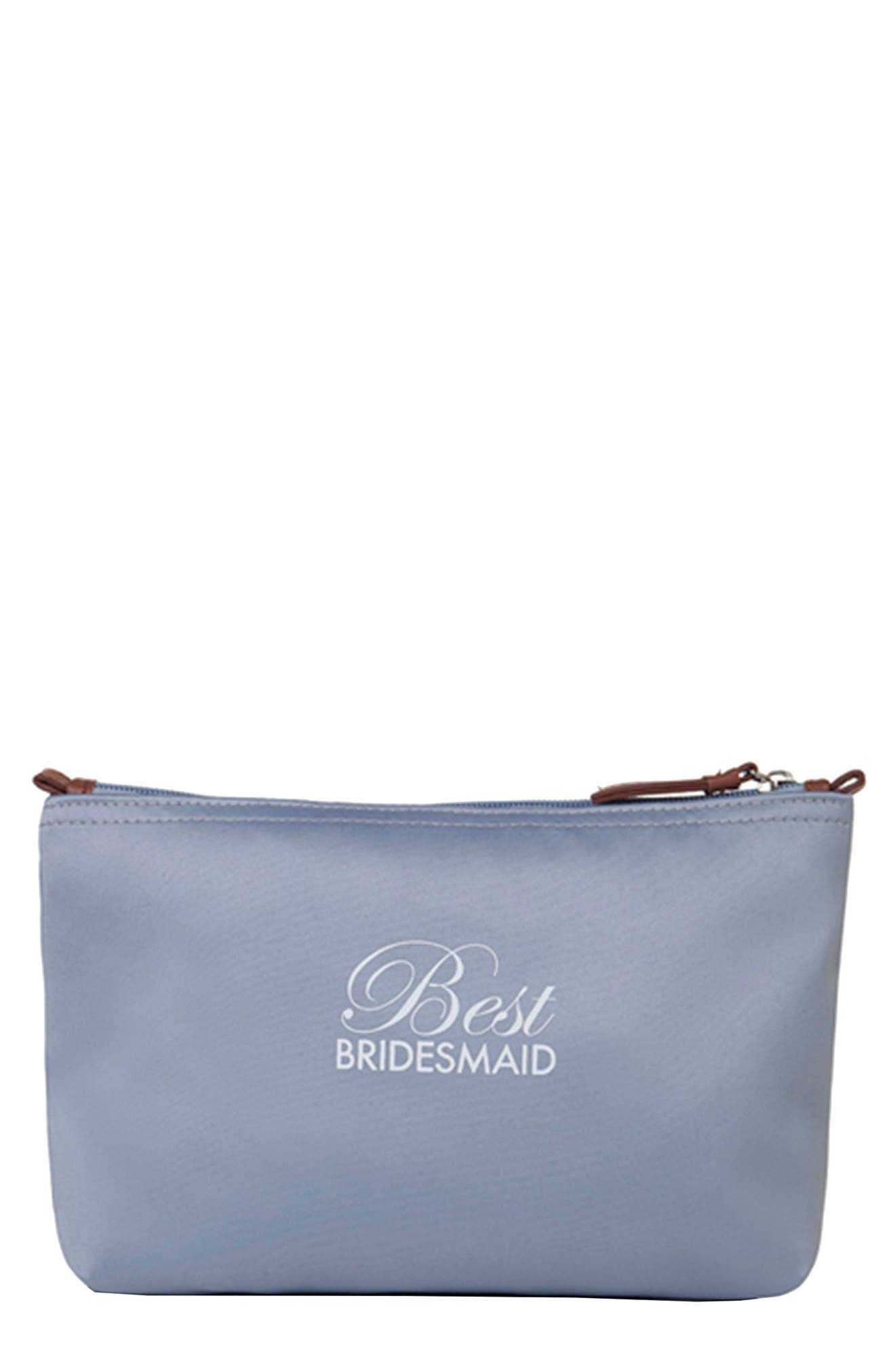 'Best Bridesmaid' Cosmetics Bag,                         Main,                         color, 040
