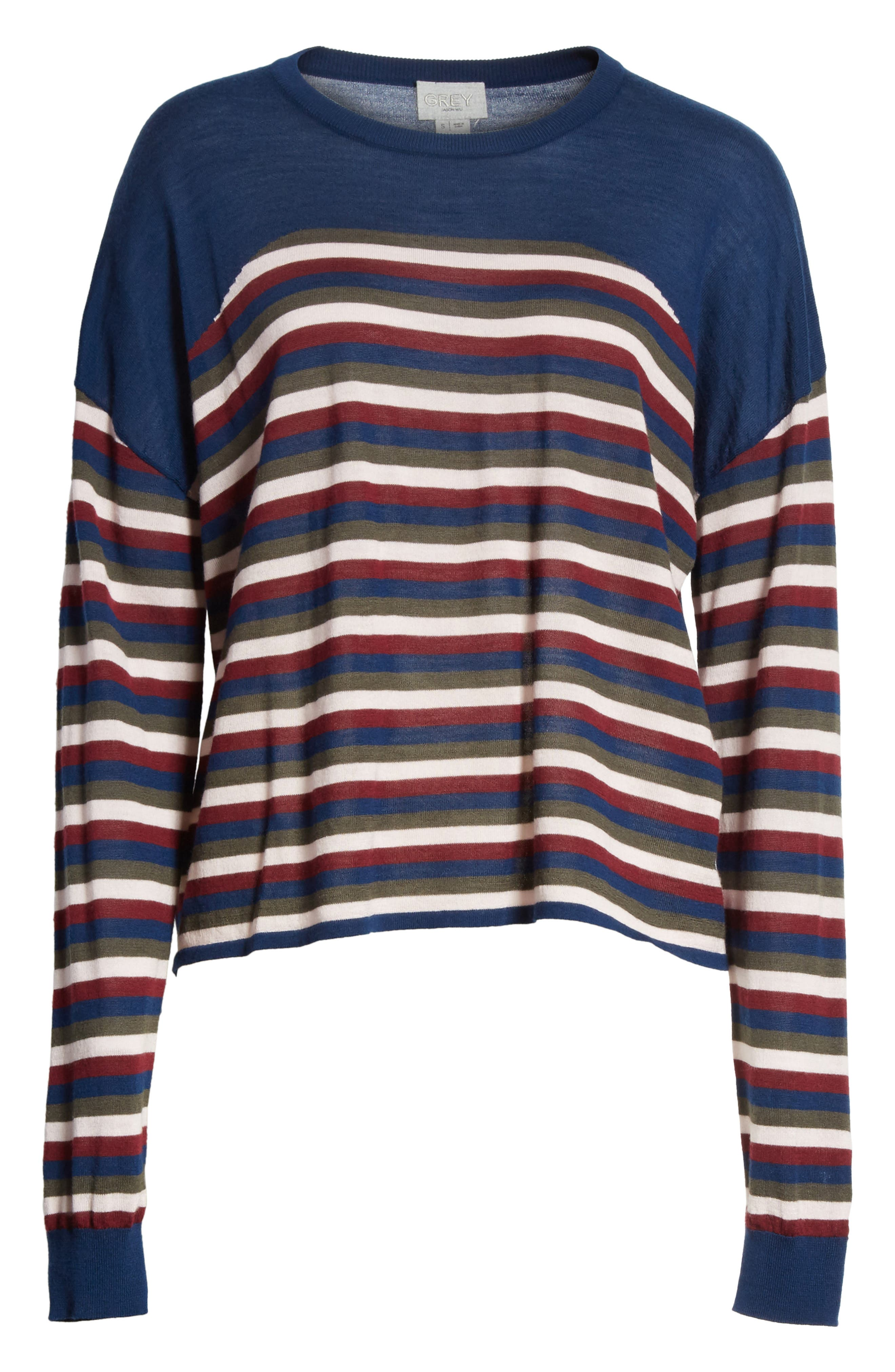 GREY Jason Wu Stripe Knit Pullover,                             Alternate thumbnail 6, color,                             404