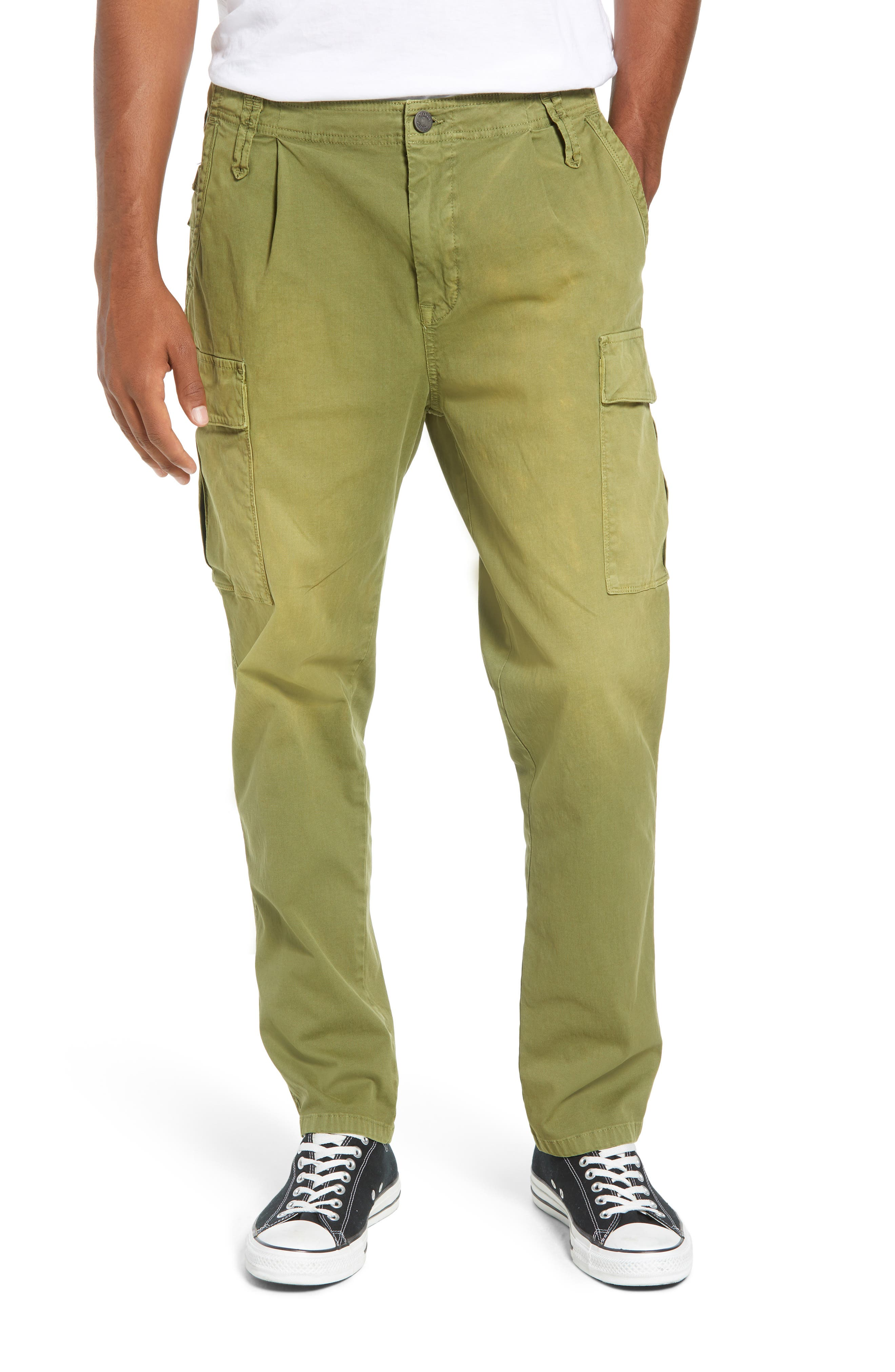 Scotch & Soda Loose Taper Fit Washed Cargo Pants, Green