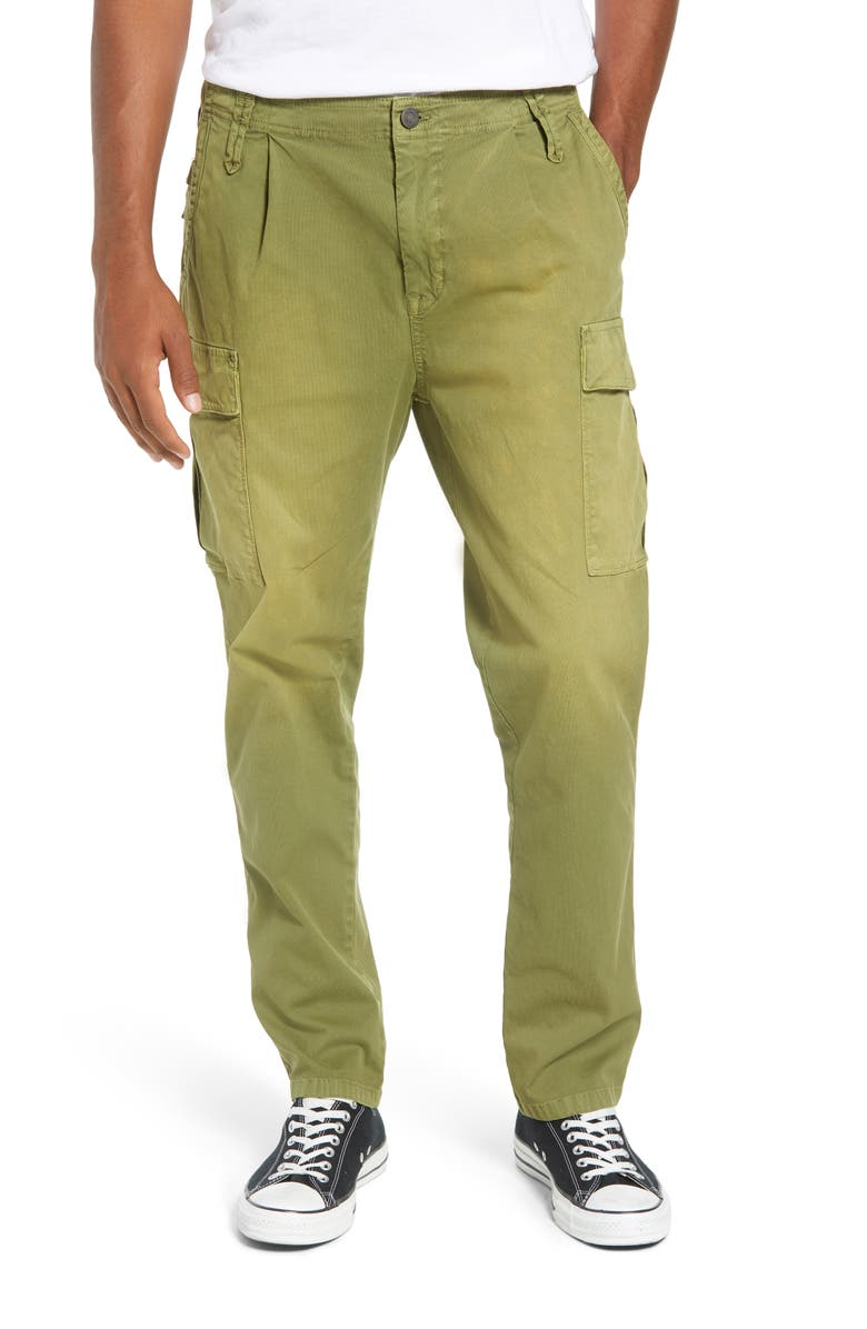 Loose Taper Fit Washed Cargo Pants, ...