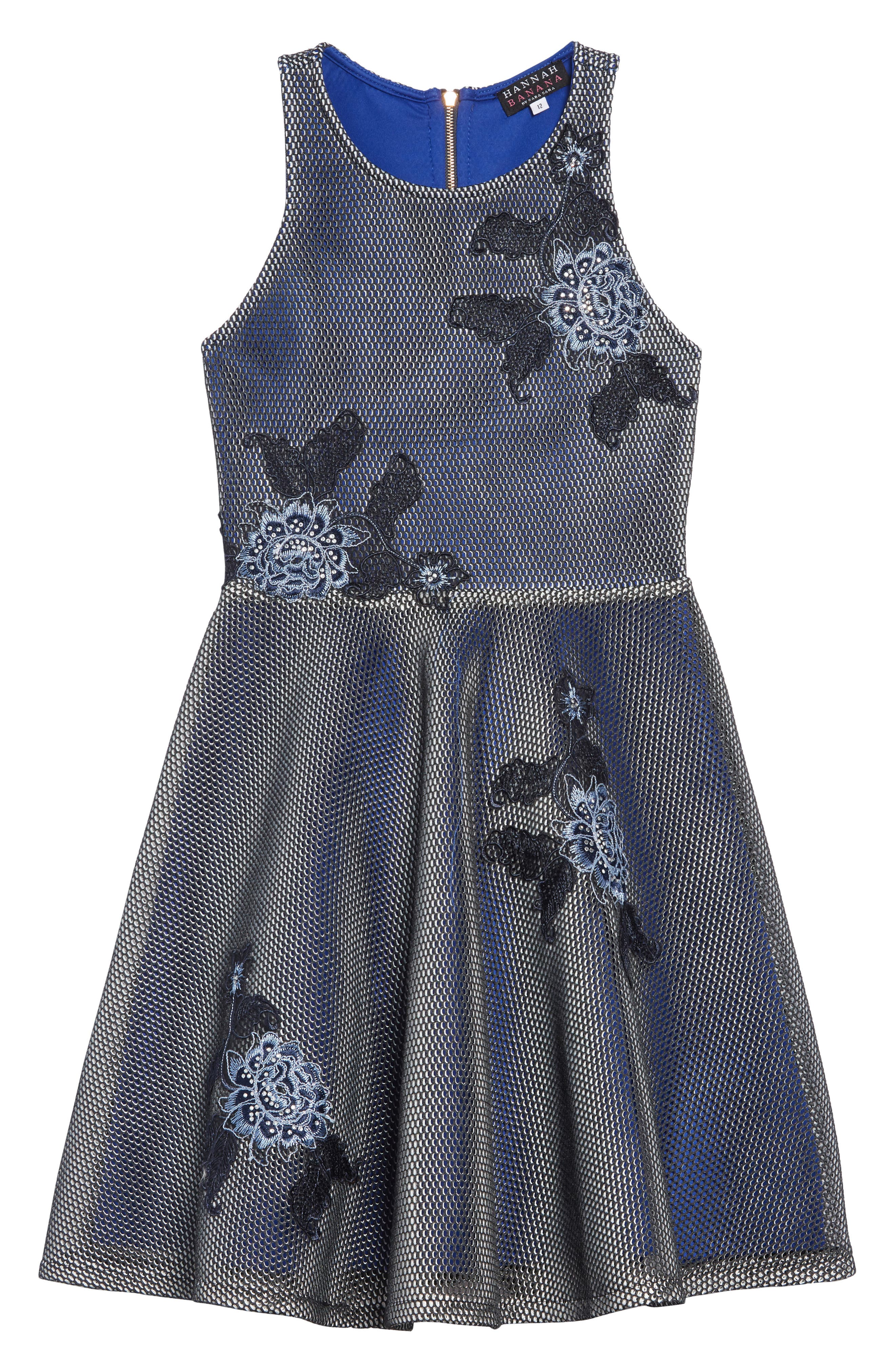 Embroidered Techno Mesh Dress, Main, color, NAVY