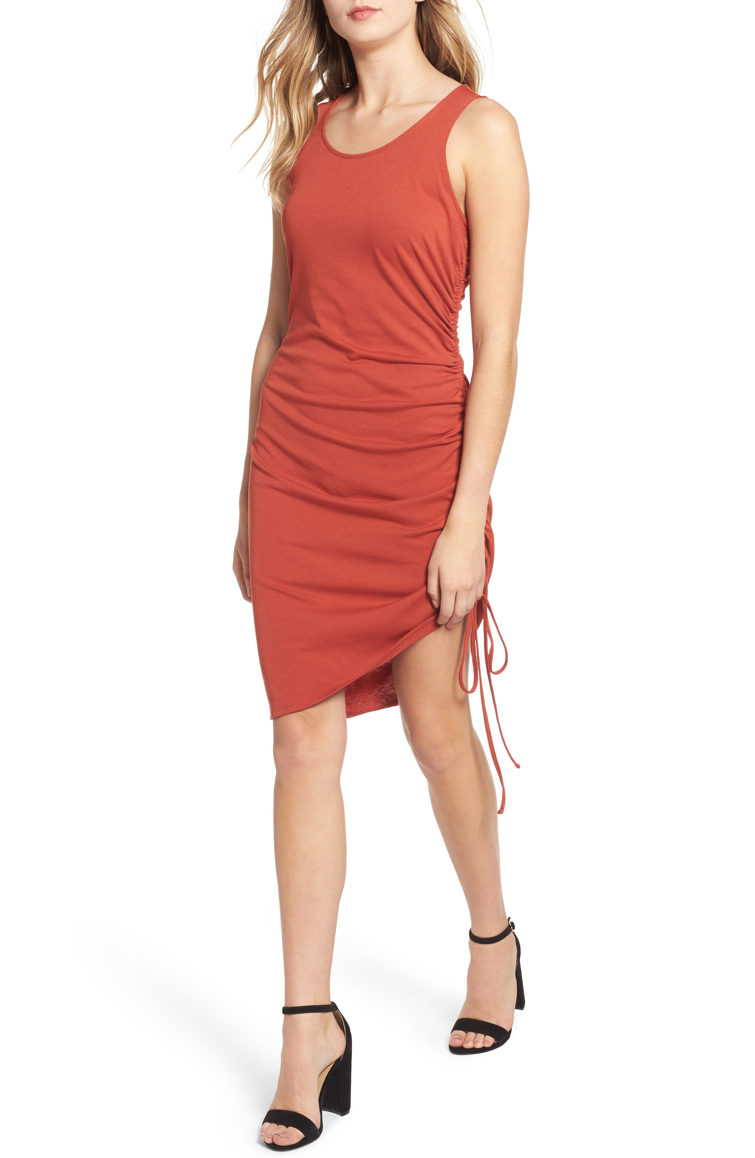 Side Shirred Body-Con Dress,                             Main thumbnail 1, color,                             RED OCHRE